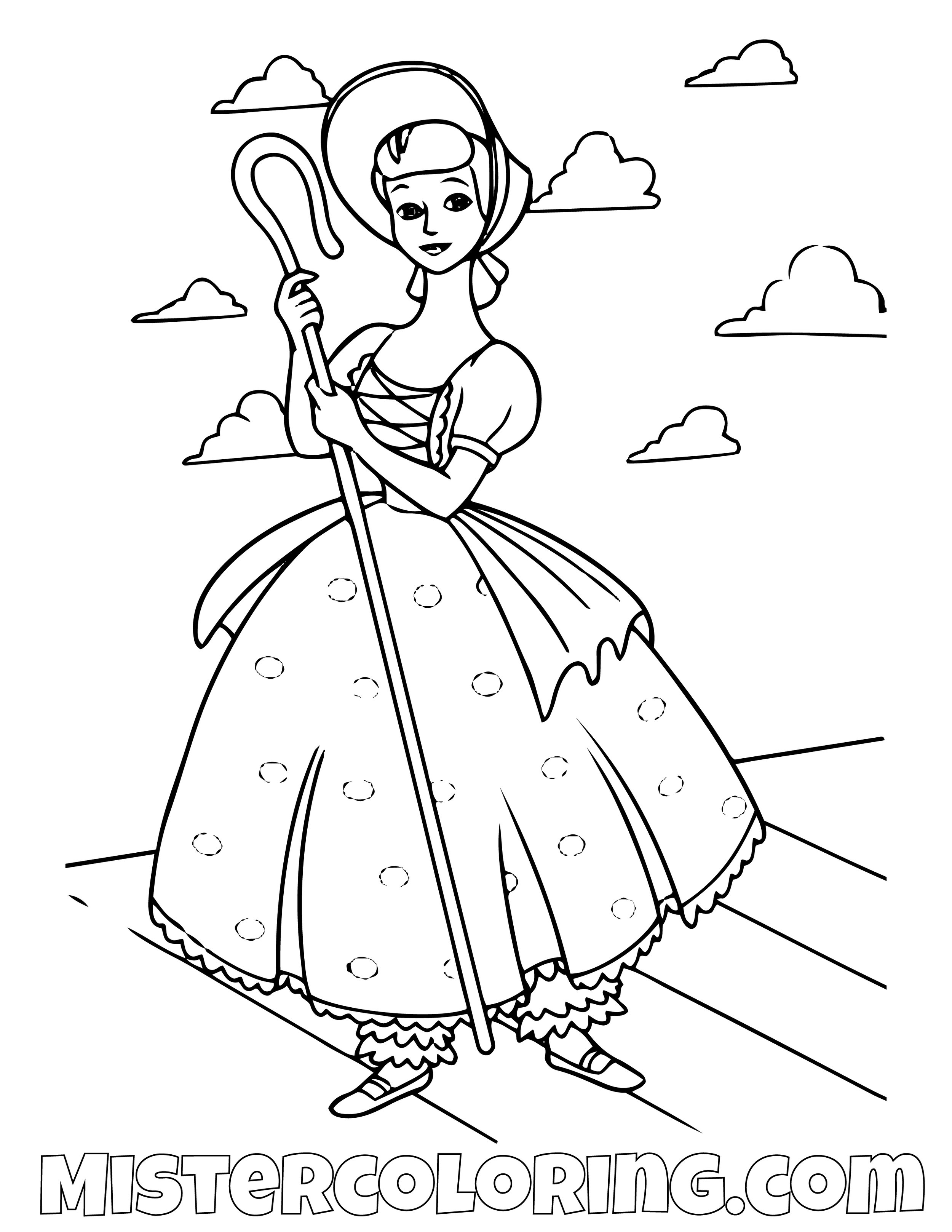 Little Bo Peep Toy Story Coloring Page