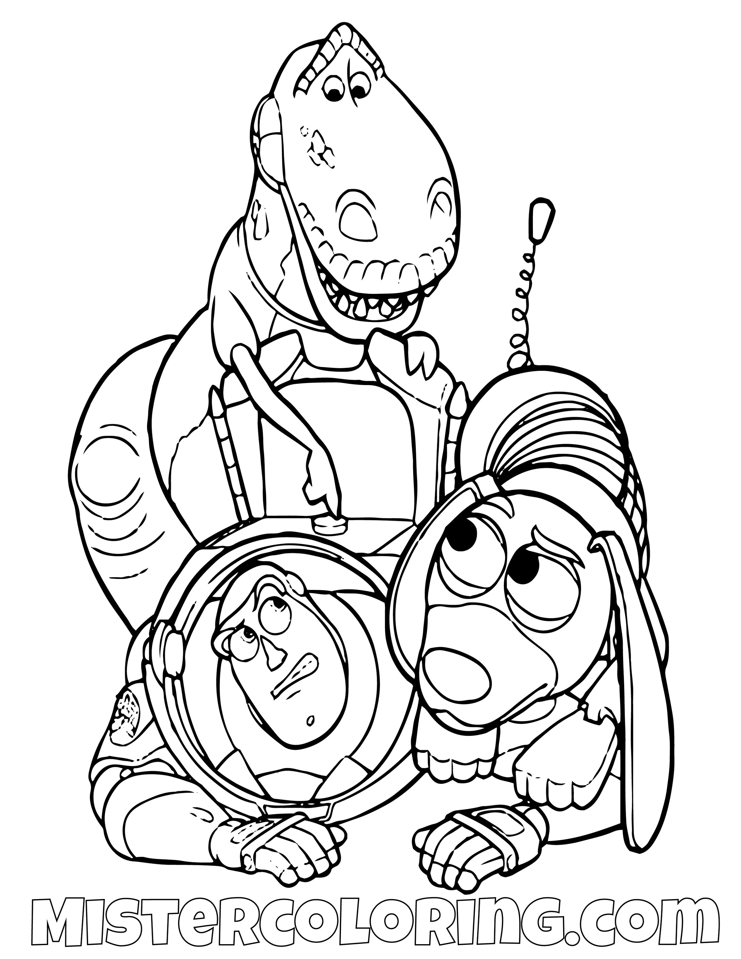 Rex And Slinky Dog Turning Buzz Lightyear Off Toy Story Coloring Page