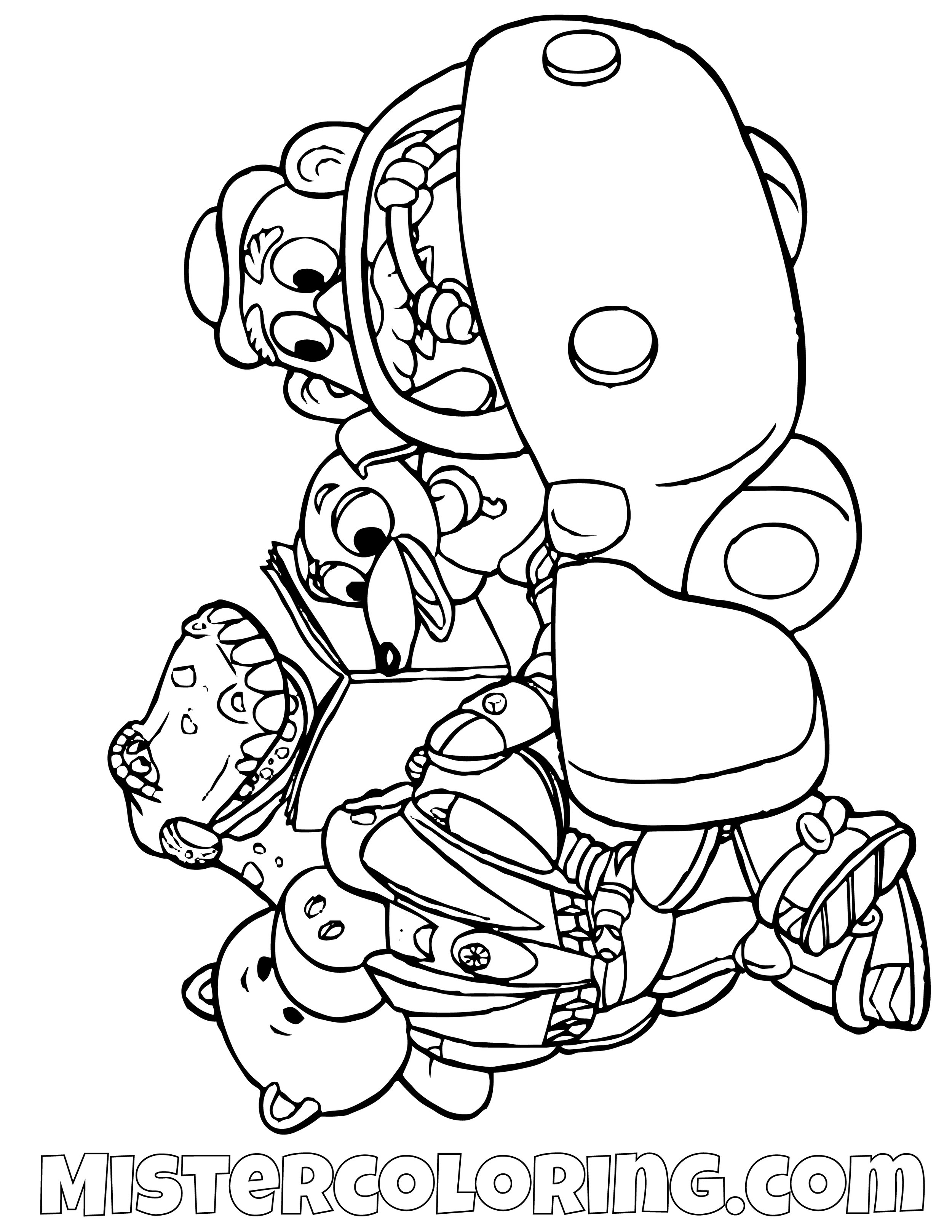 Rex Ham Slinky Dog Mr Potato Head Buzz Lightyear Riding A Car Toy Story Coloring Page