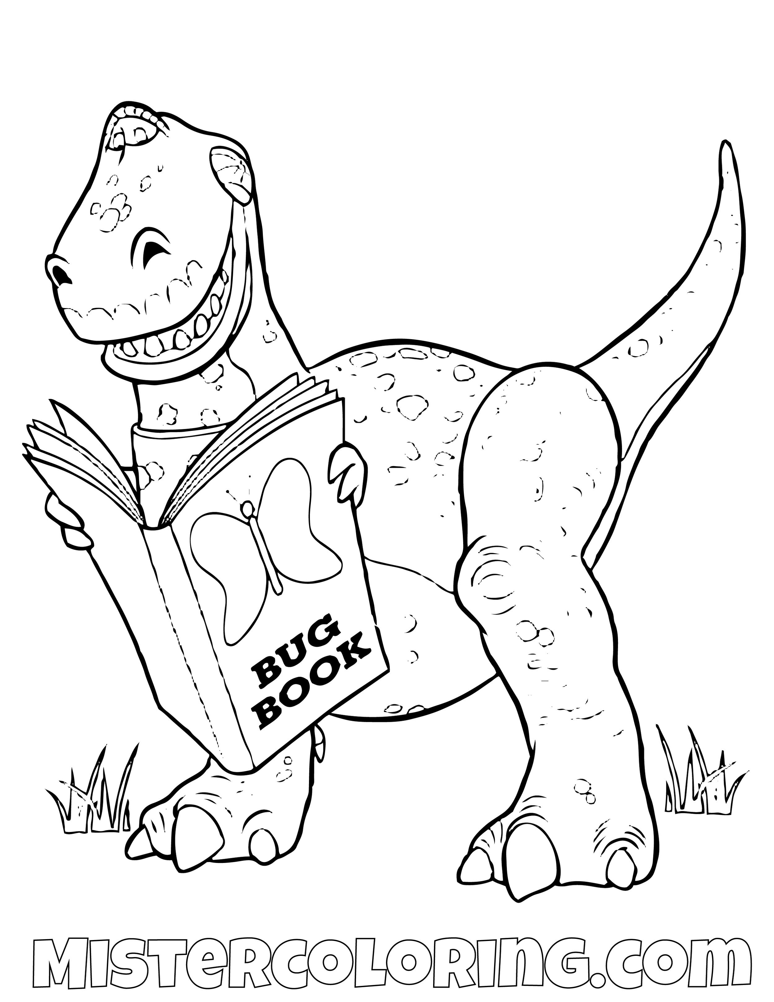 Rex Reading Bug Book Toy Story Coloring Page
