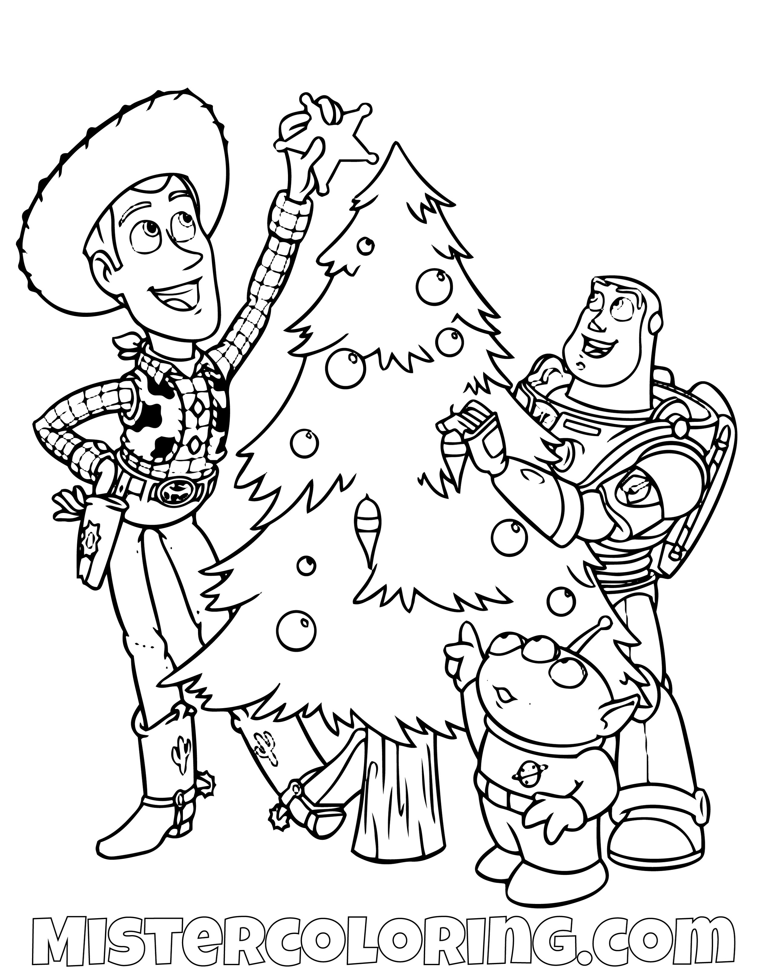 Sheriff Woody Alien And Buzz Lightyear With Christmas Tree Toy Story Coloring Page