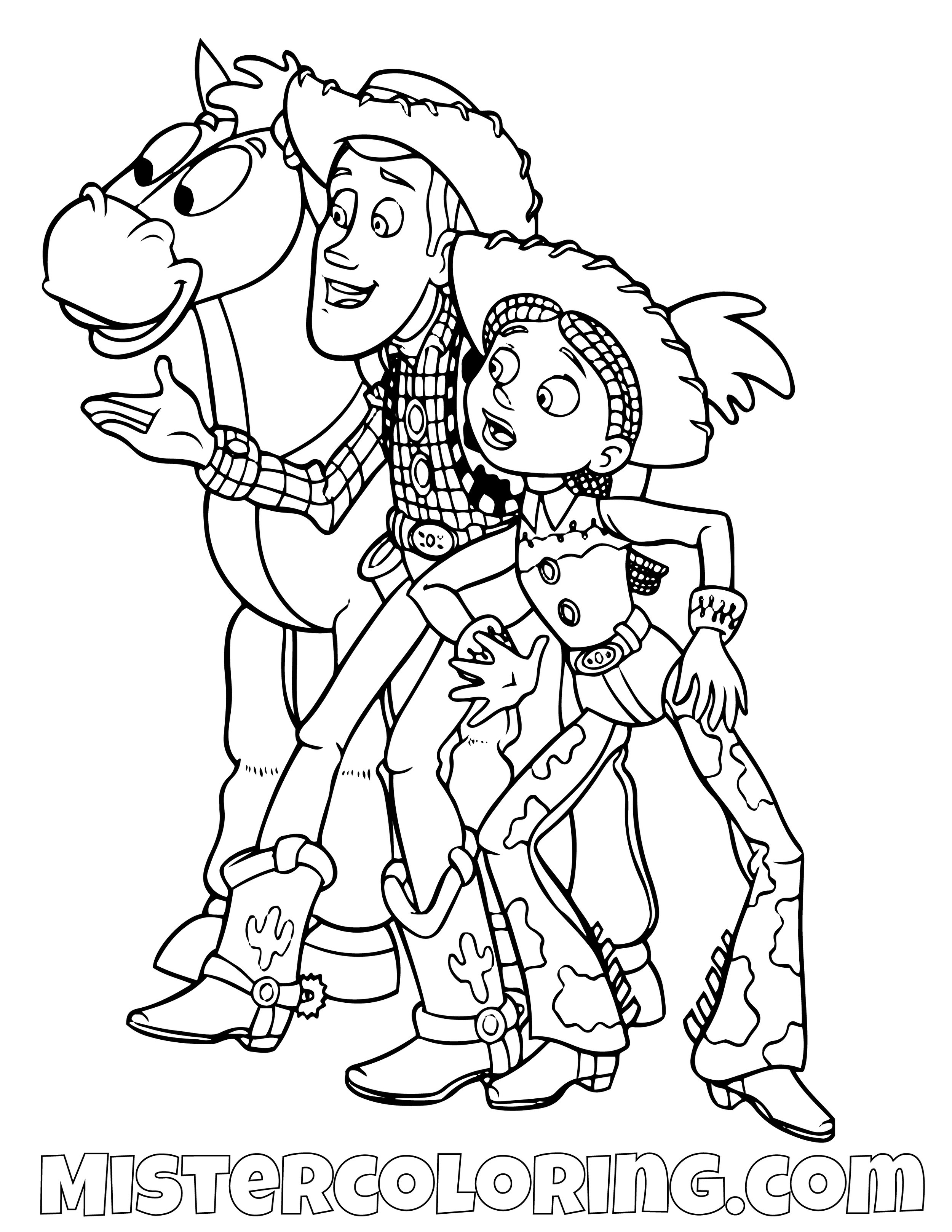 Sheriff Woody Jessie Bullseye Toy Story Coloring Page