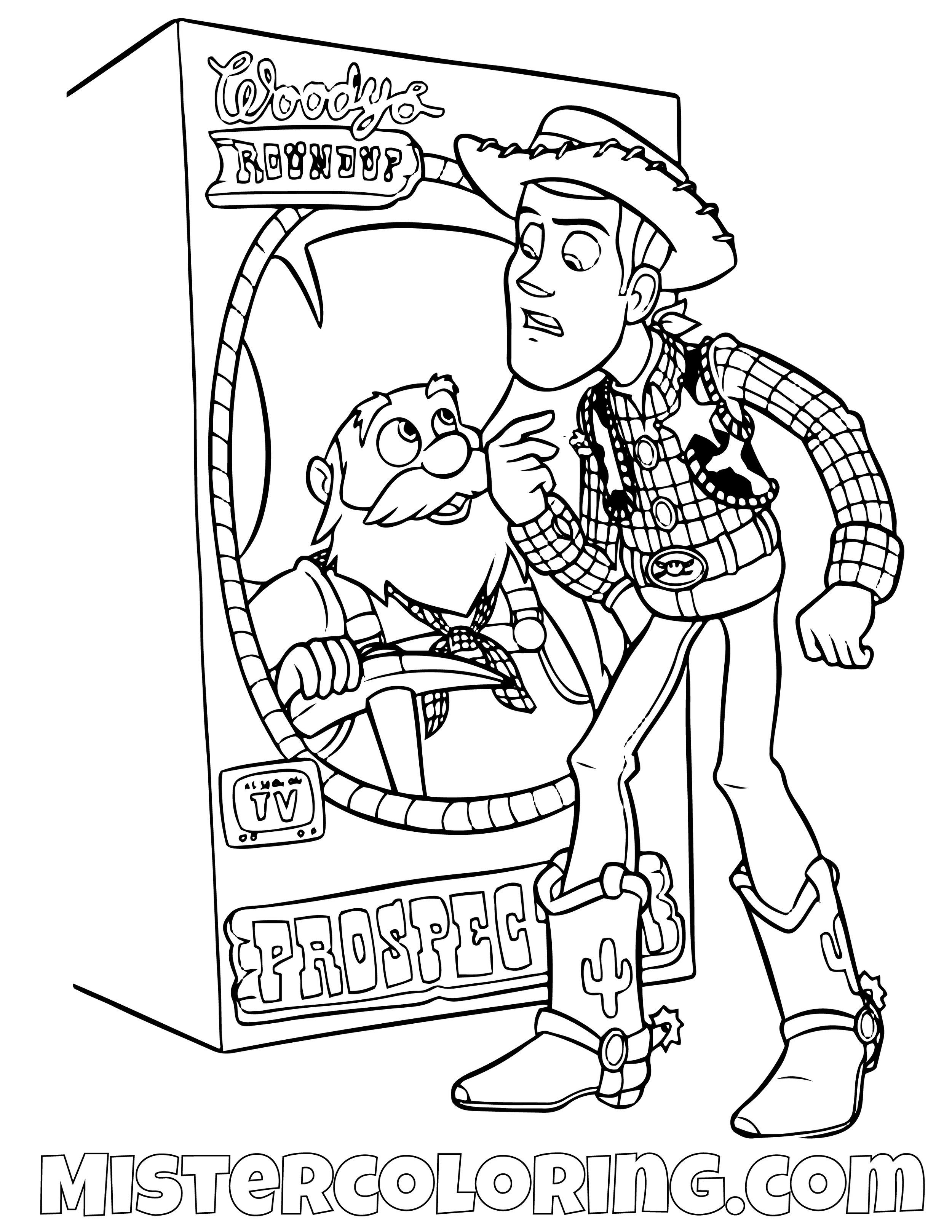 Sheriff Woody Mad At Stinky Pete Toy Story Coloring Page
