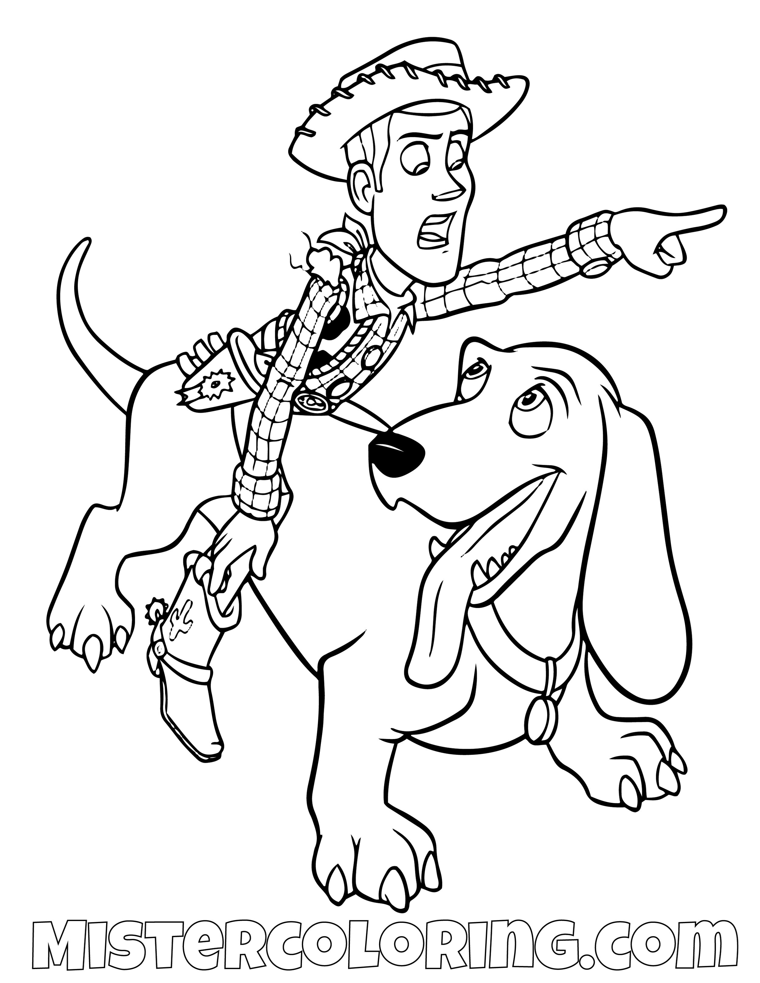 Sheriff Woody Riding A Dog Toy Story Coloring Page