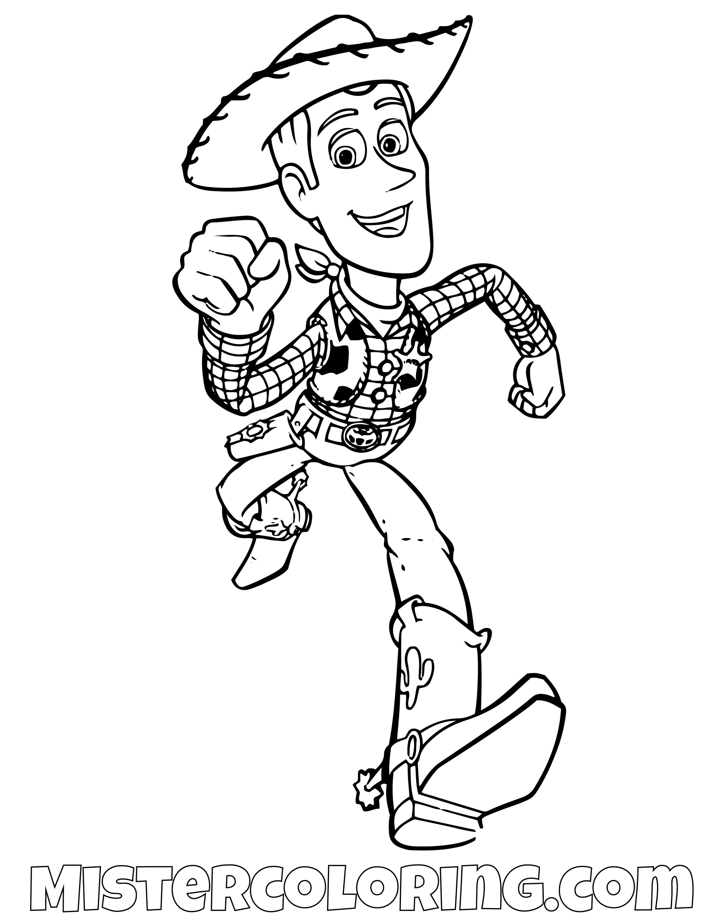 Sheriff Woody Running Toy Story Coloring Page
