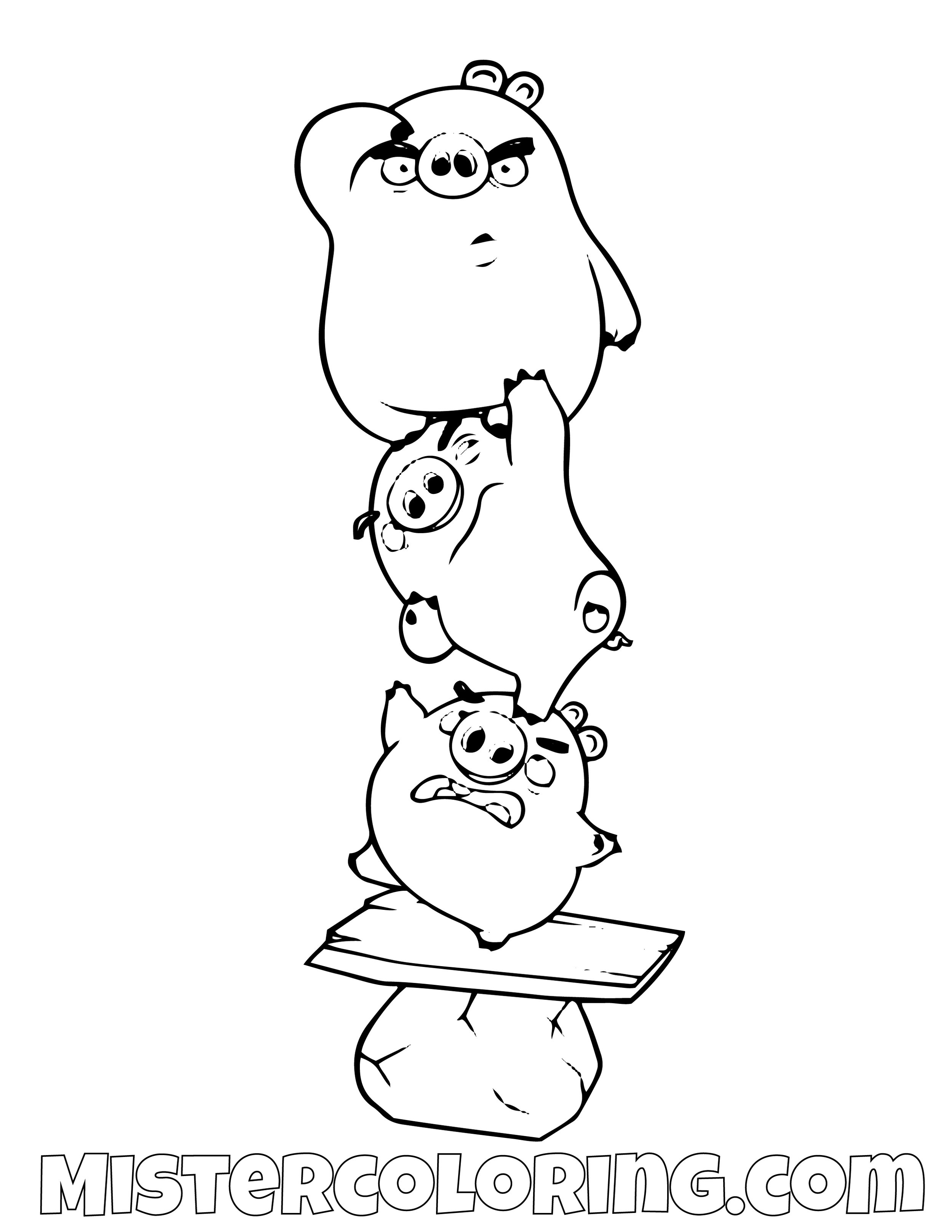 3 Pigs Stacking Angry Bird Coloring Pages