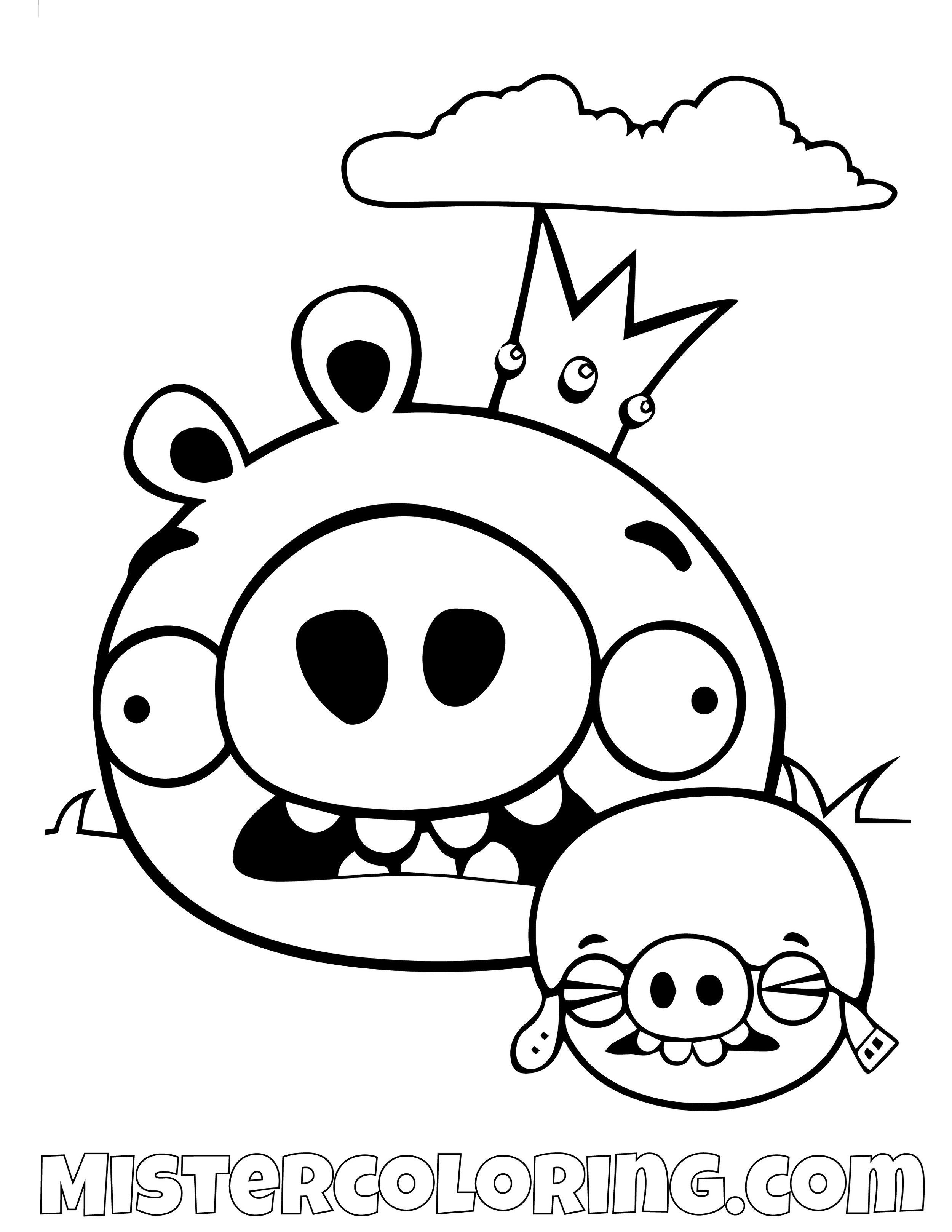 King Pig Angry Bird Coloring Pages
