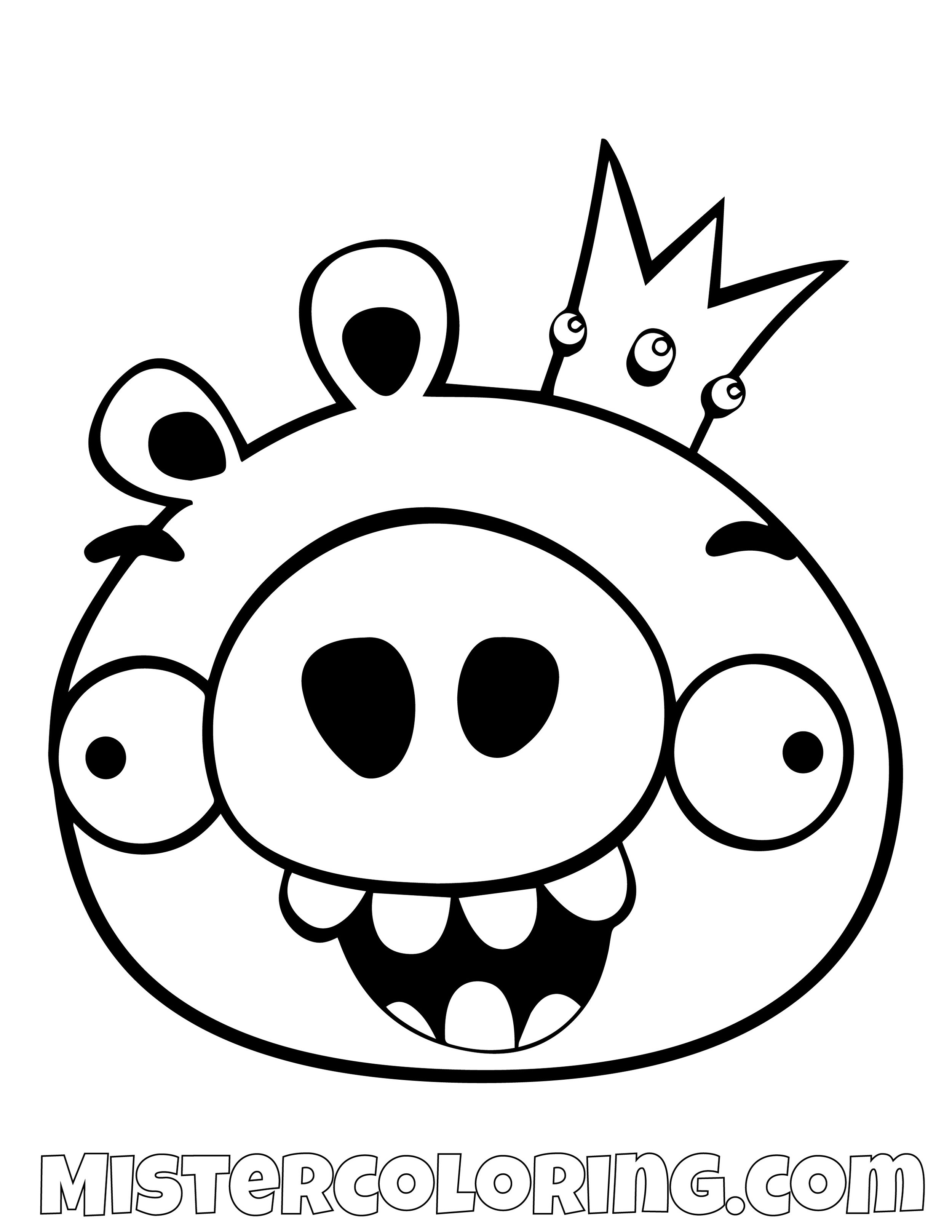 King Pig Simple Angry Bird Coloring Pages
