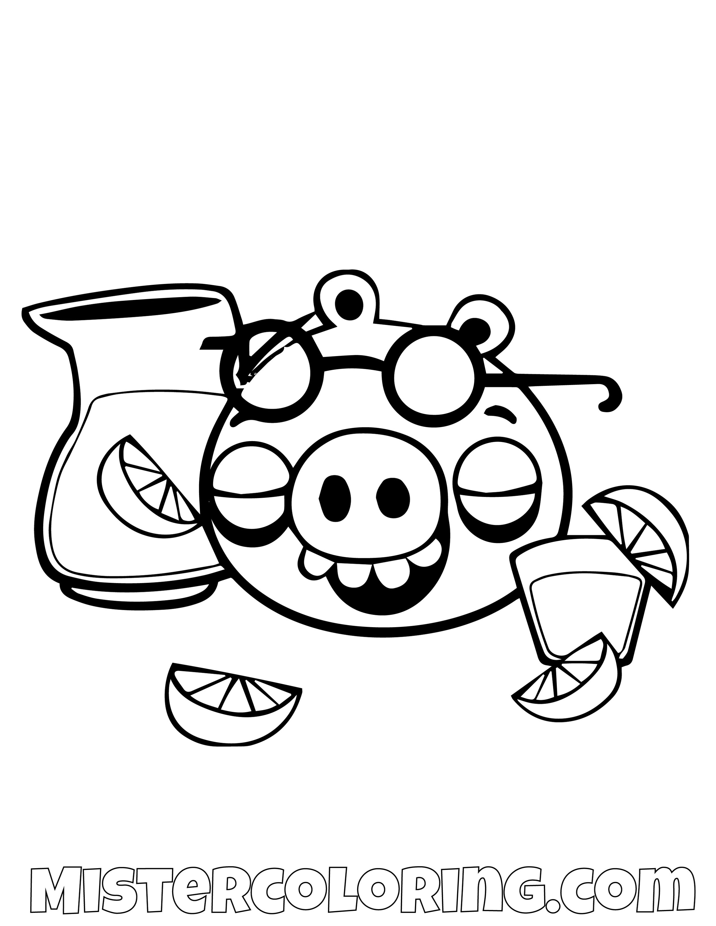 Pig Drinking Lemonade Angry Bird Coloring Pages