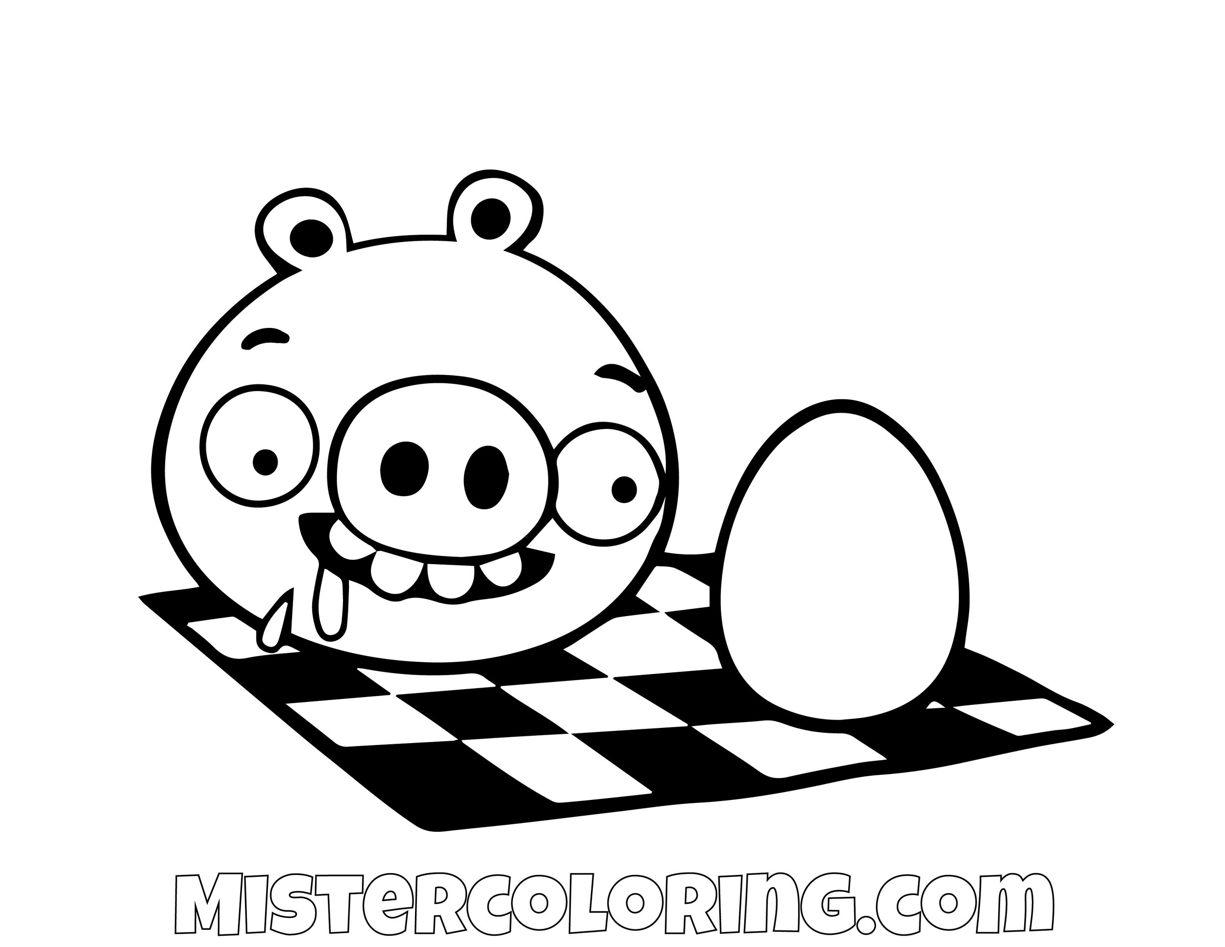 Pig Eating An Egg Angry Bird Coloring Pages