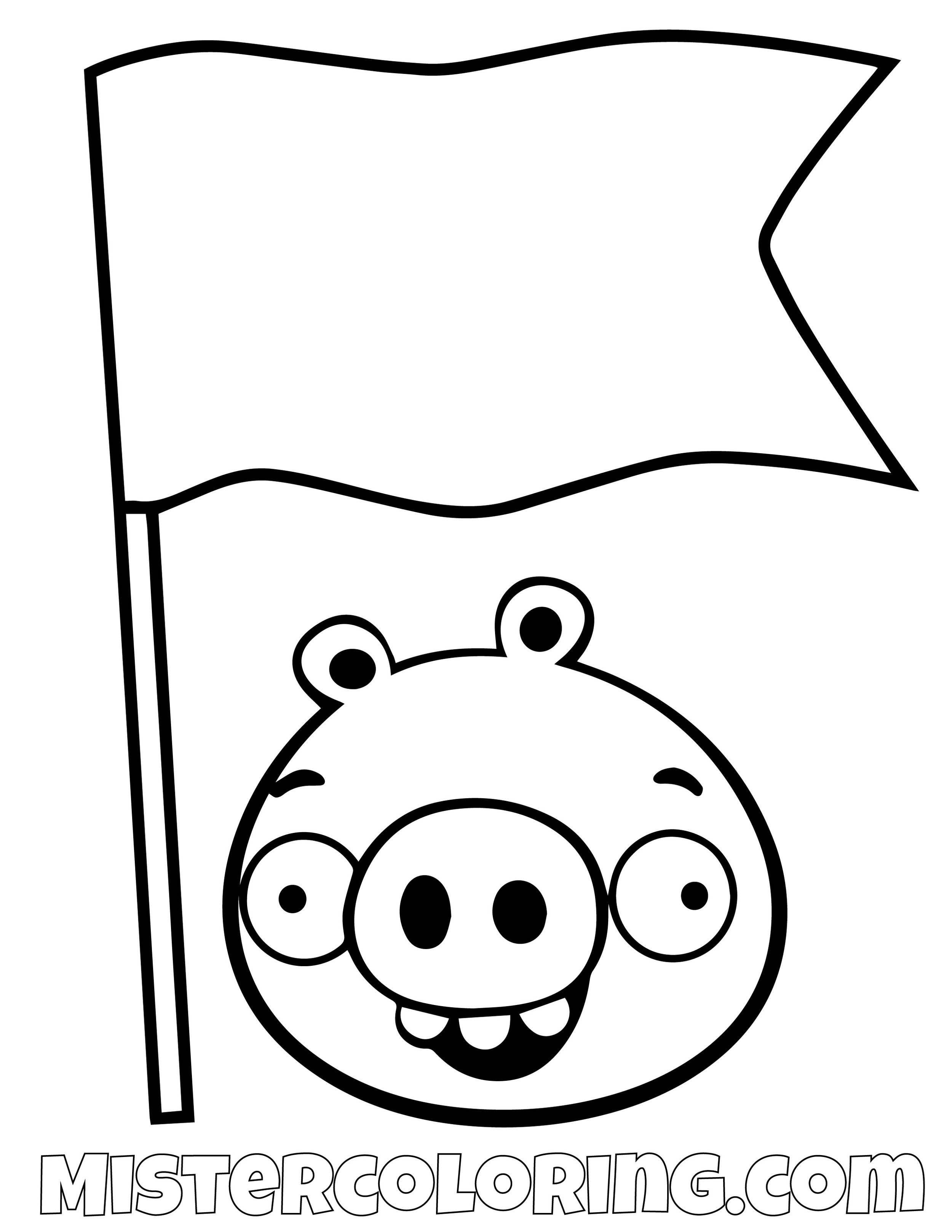 Pig Flag Angry Bird Coloring Pages