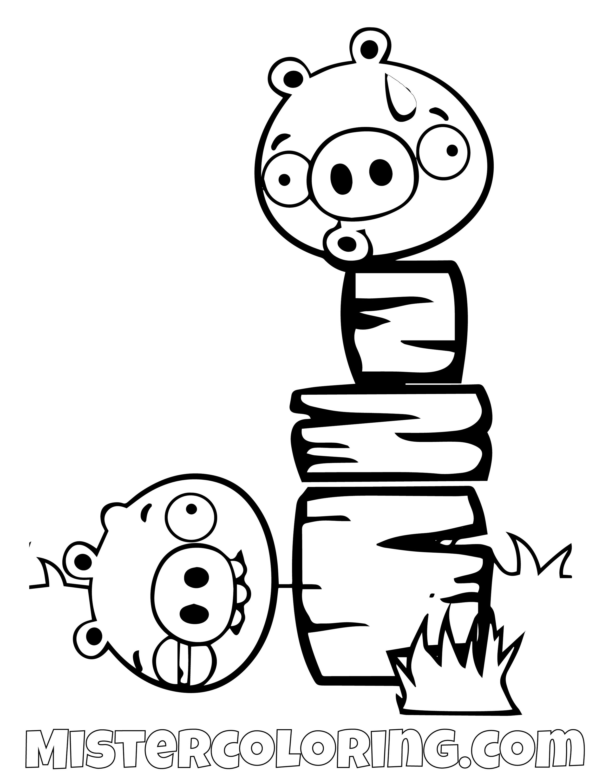 Pig Getting Knocked Angry Bird Coloring Pages