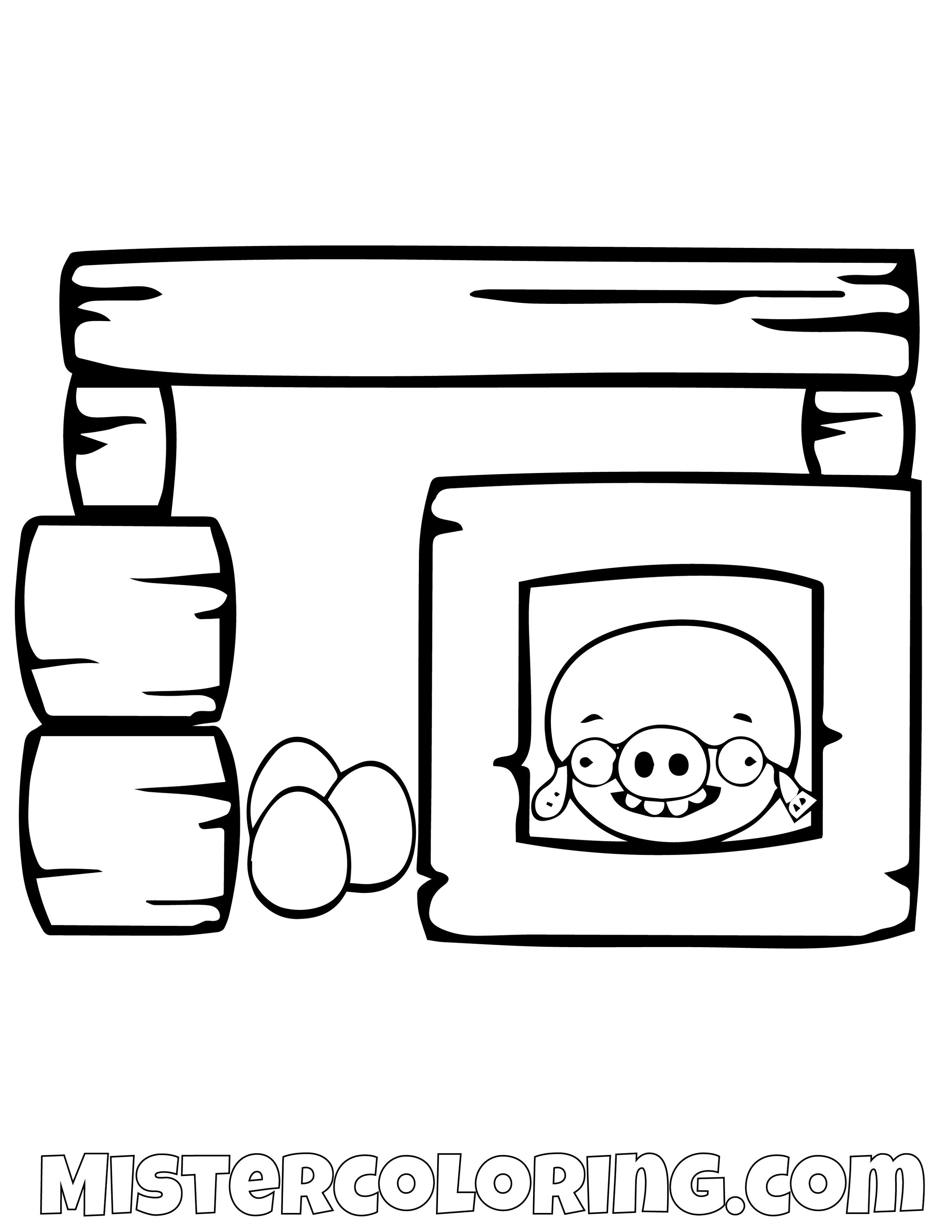 Pig In A House Angry Bird Coloring Pages