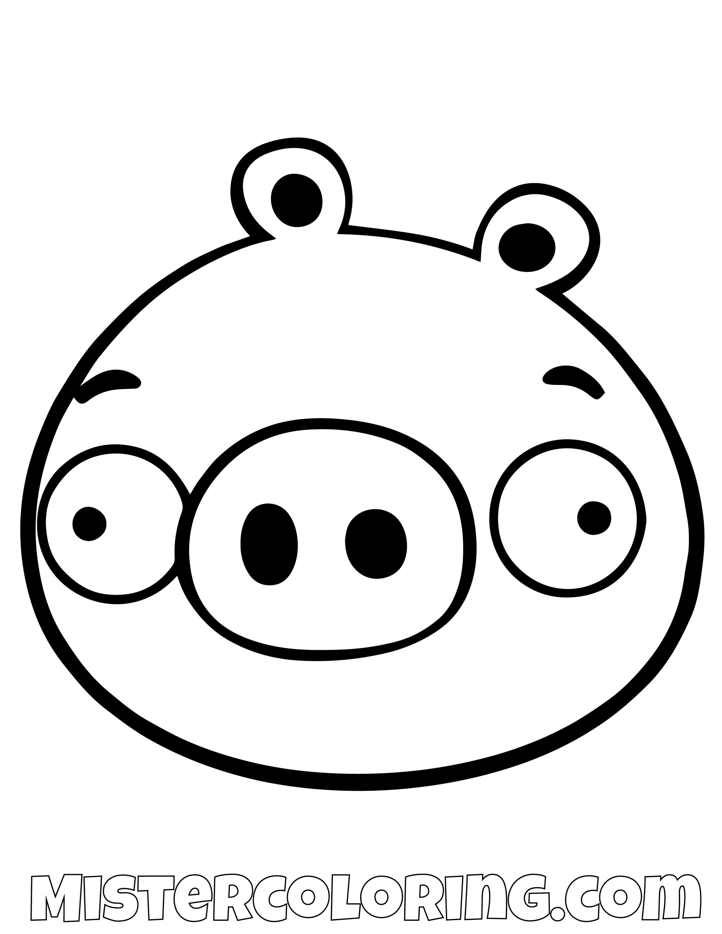 Pig Simple Angry Bird Coloring Pages