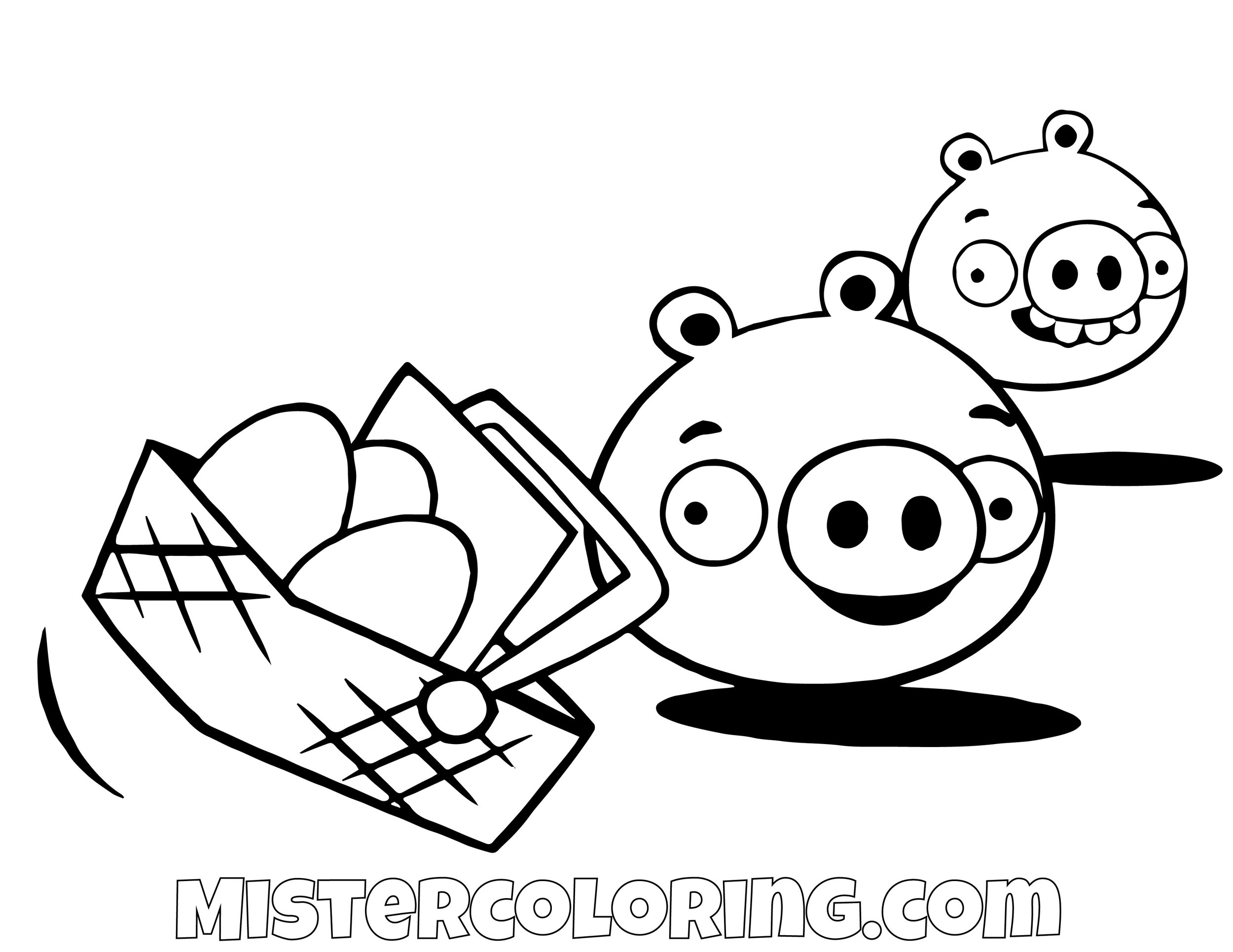 Pig Taking Eggs Angry Bird Coloring Pages