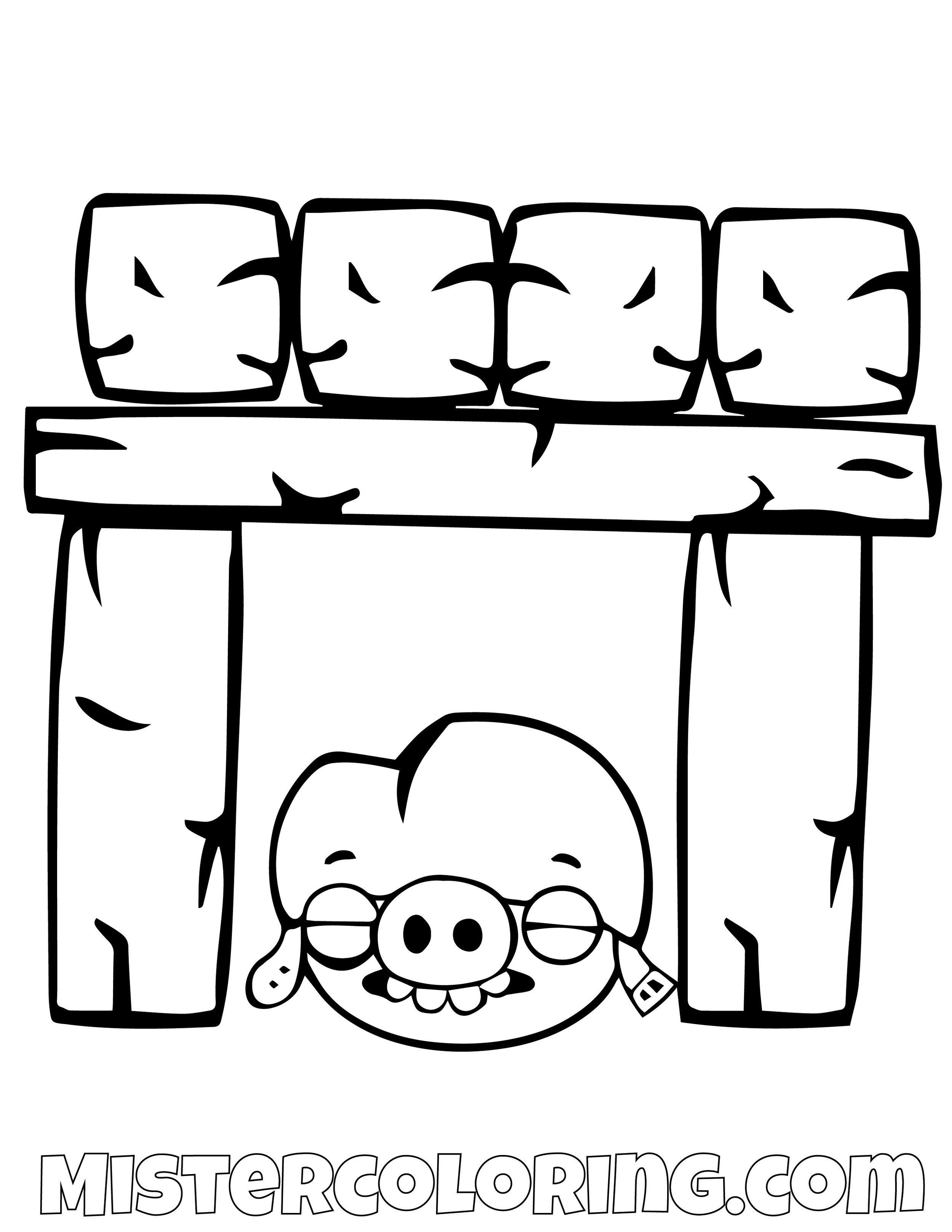 Pig Under Building Angry Bird Coloring Pages