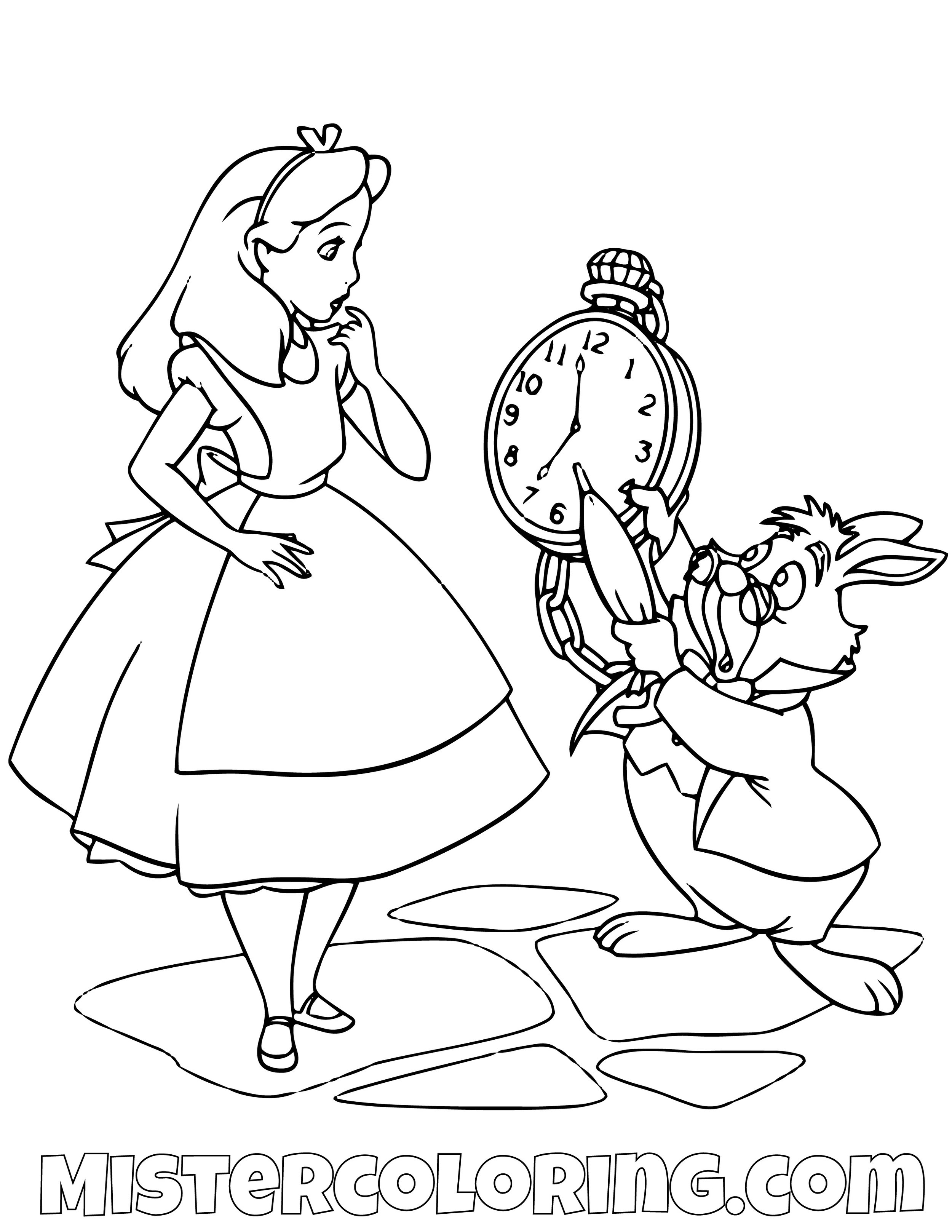 Alice In Wonderland Coloring Page 12 Coloring Page - Free Alice in ... | 1294x1000