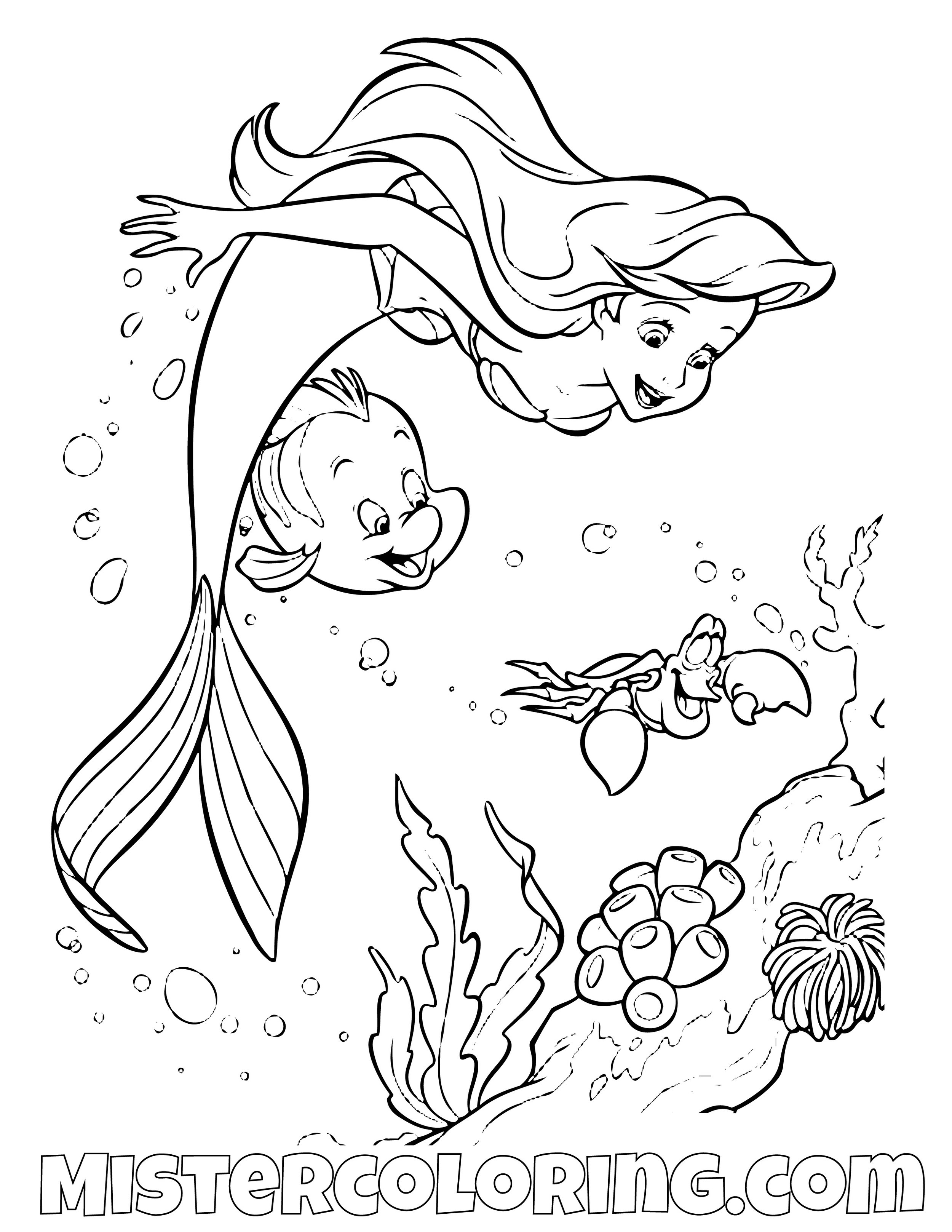 - The Little Mermaid Coloring Pages — Mister Coloring