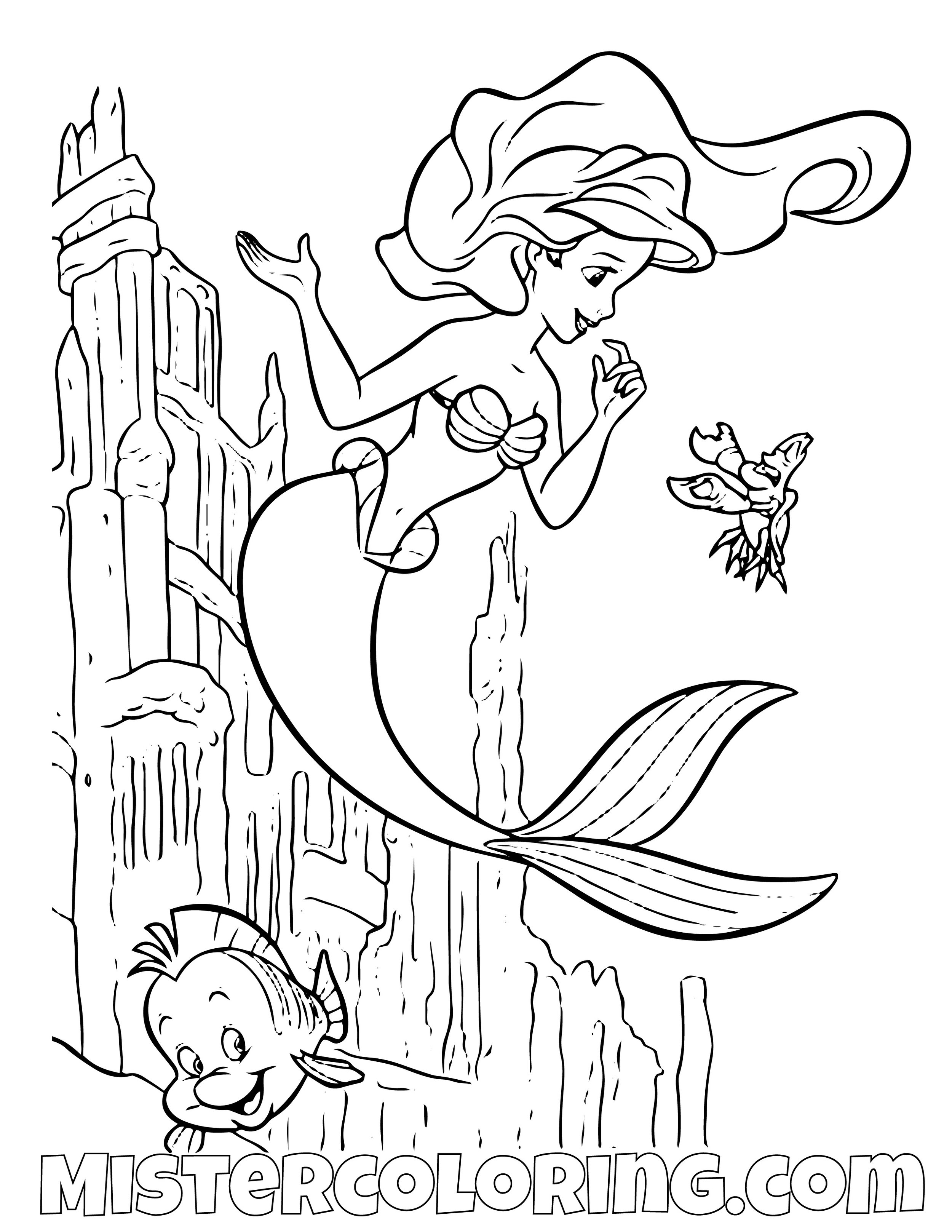 The Little Mermaid Coloring Page | Find Coloring | Mermaid coloring pages, Ariel  coloring pages, Mermaid coloring | 1294x1000