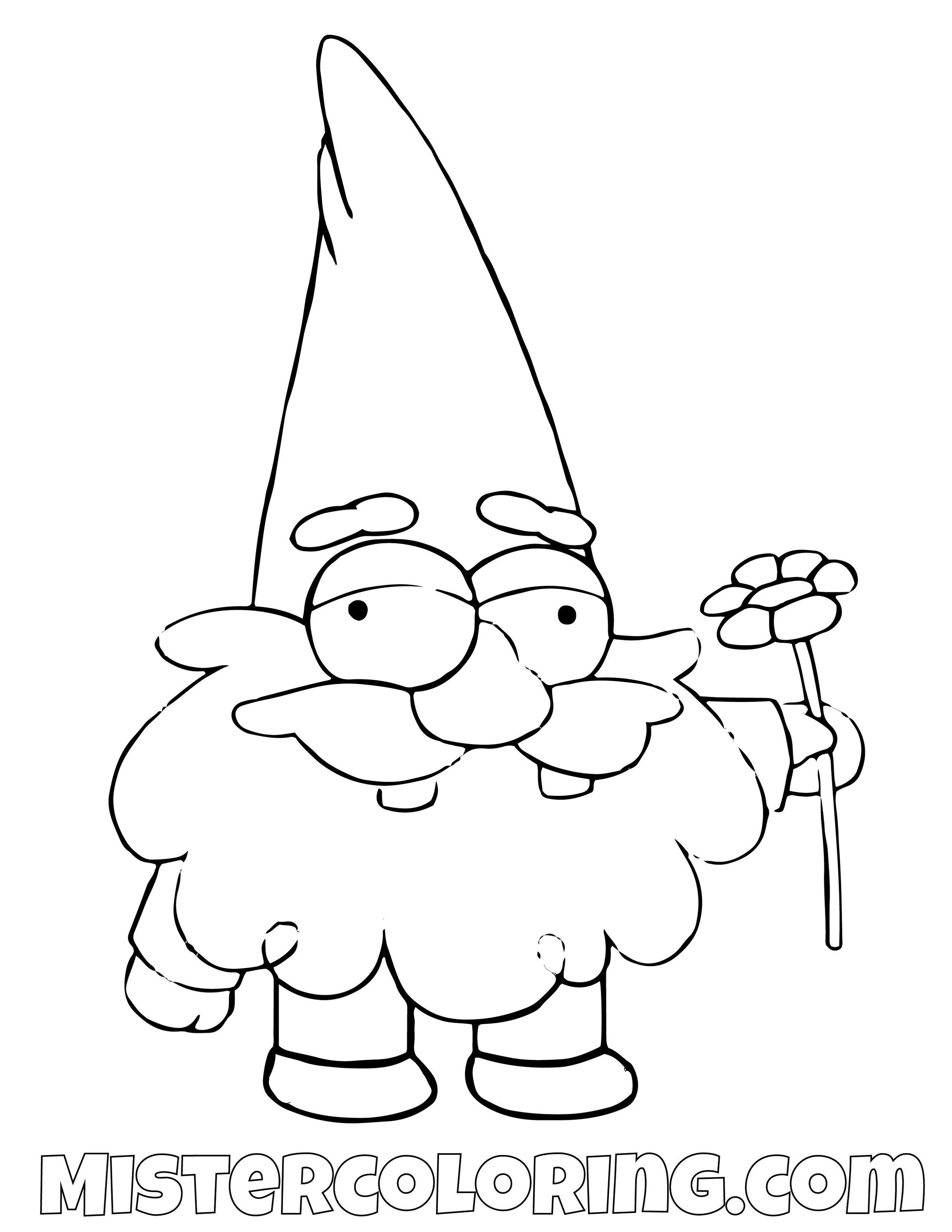 Gnome With Flower Gravity Falls Coloring Pages