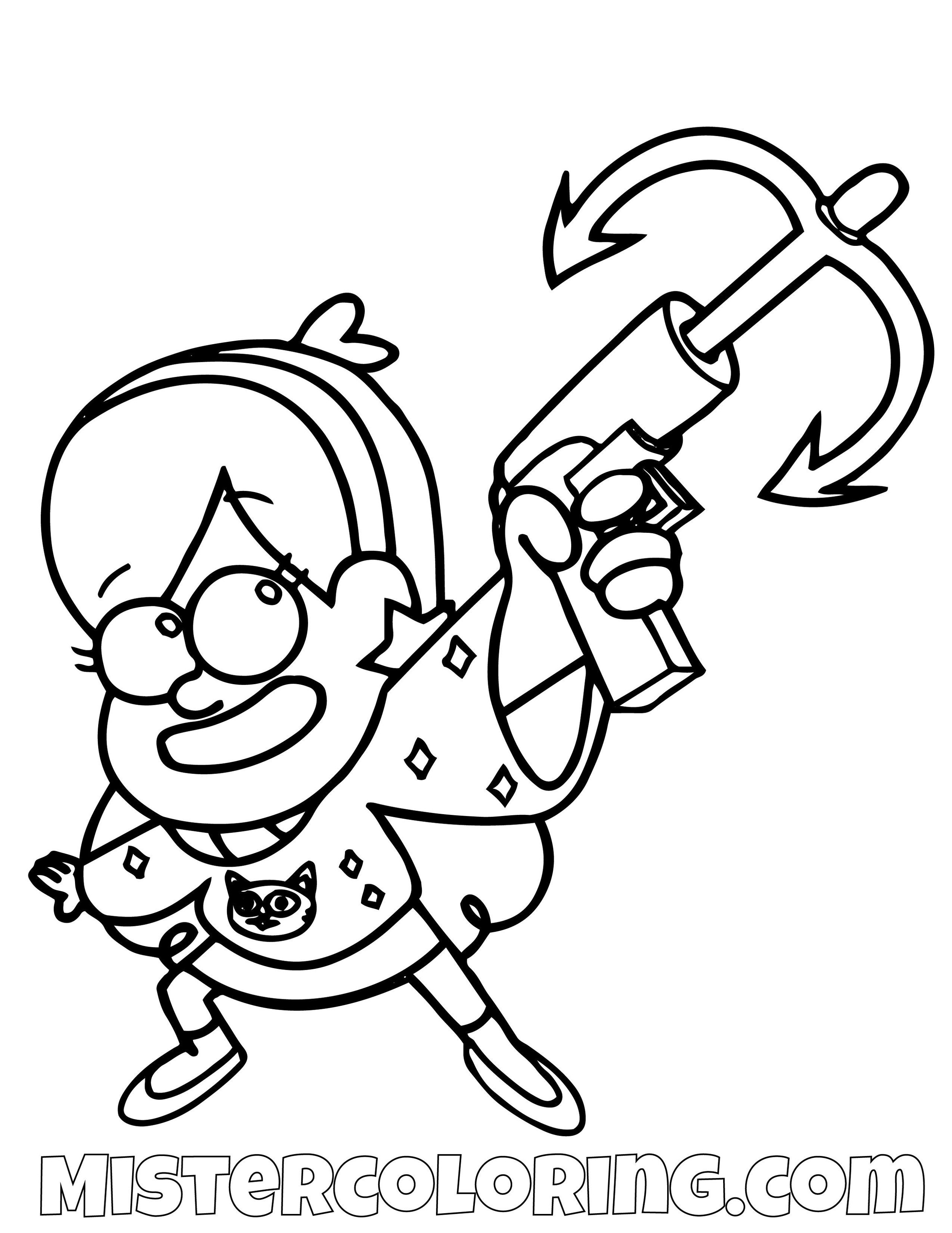 Mabel Pines With Grappling Hook Gravity Falls Coloring Pages