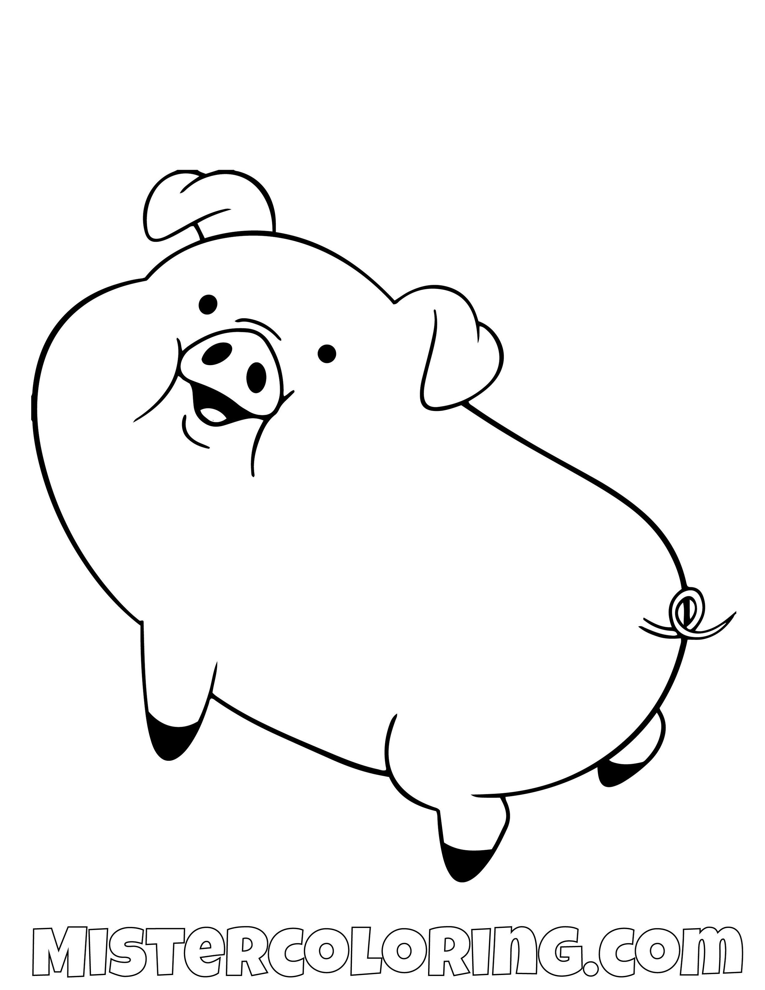 Waddles Posing Gravity Falls Coloring Pages