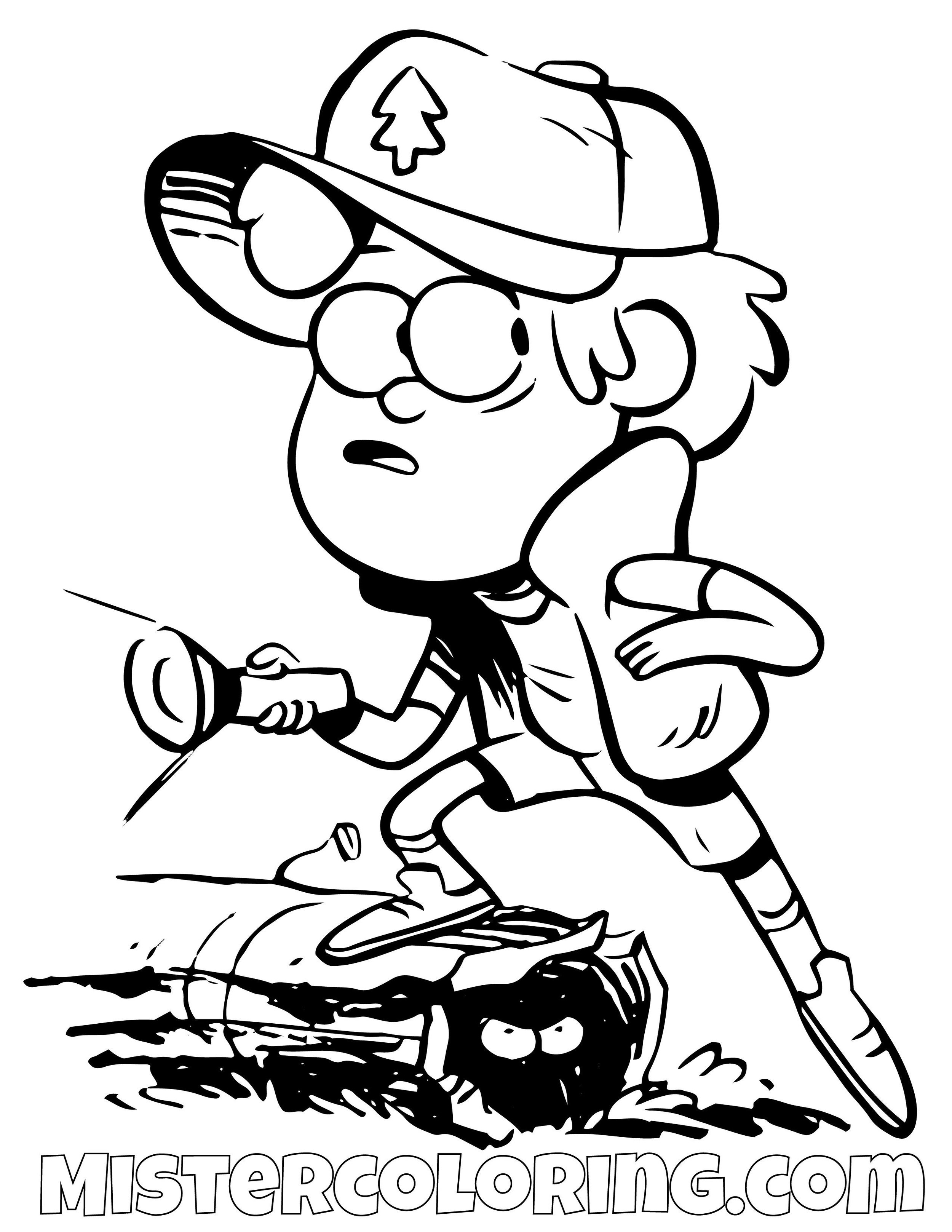 Dipper Pines Exploring Gravity Falls Coloring Pages