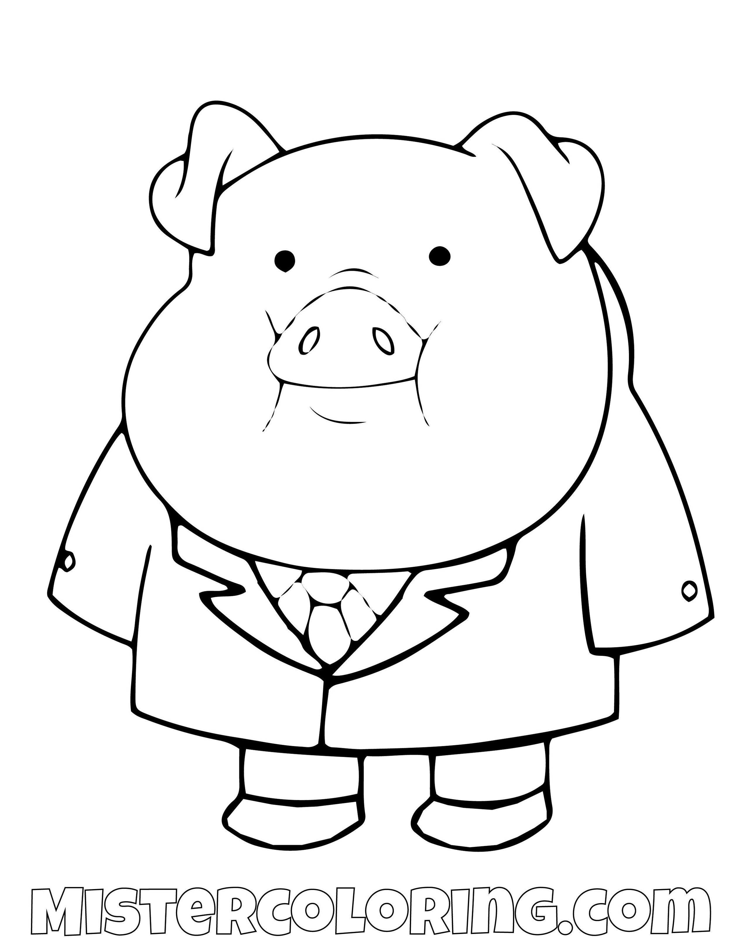 Waddles In Suit Gravity Falls Coloring Pages