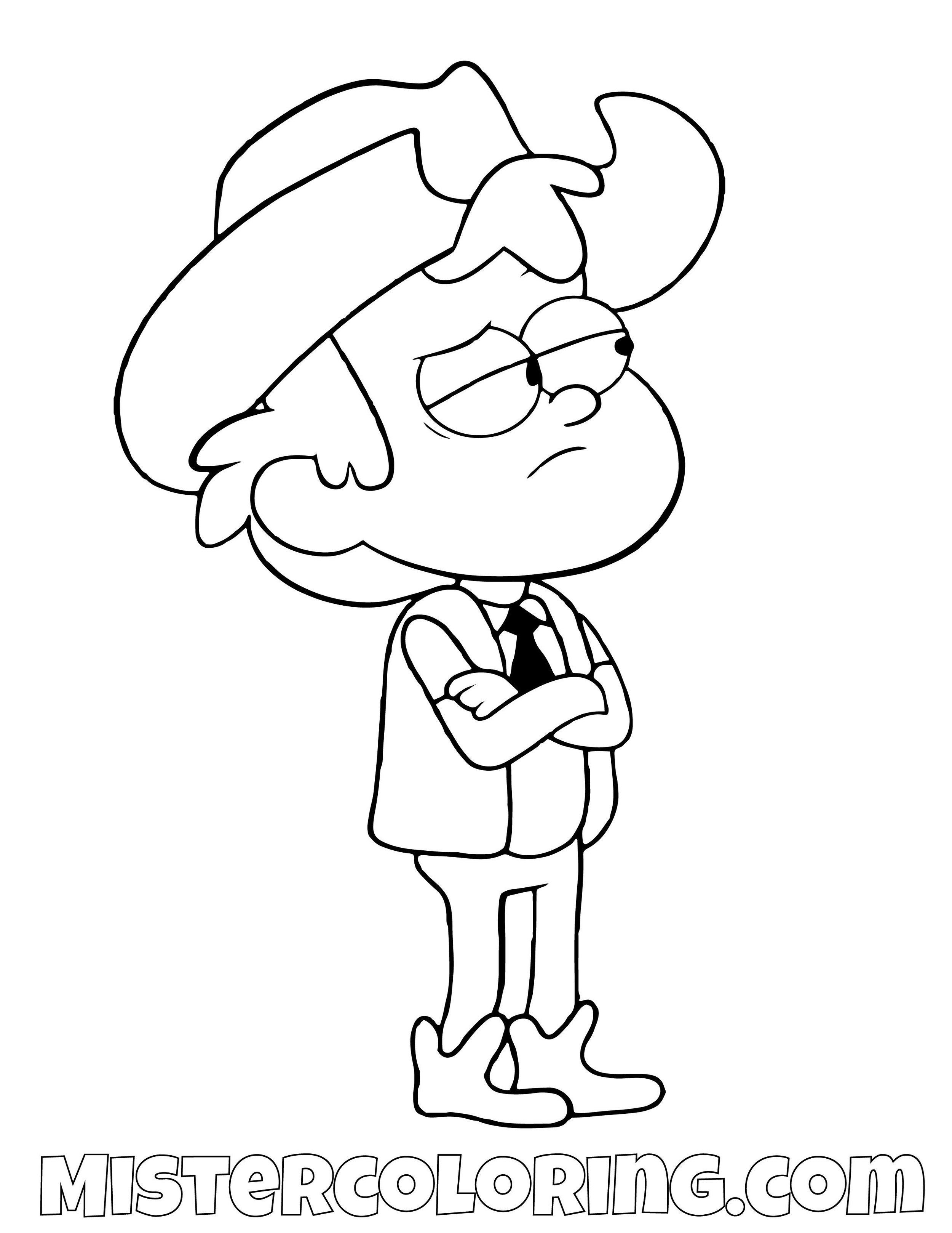 Dipper Pines Cowboy Gravity Falls Coloring Pages