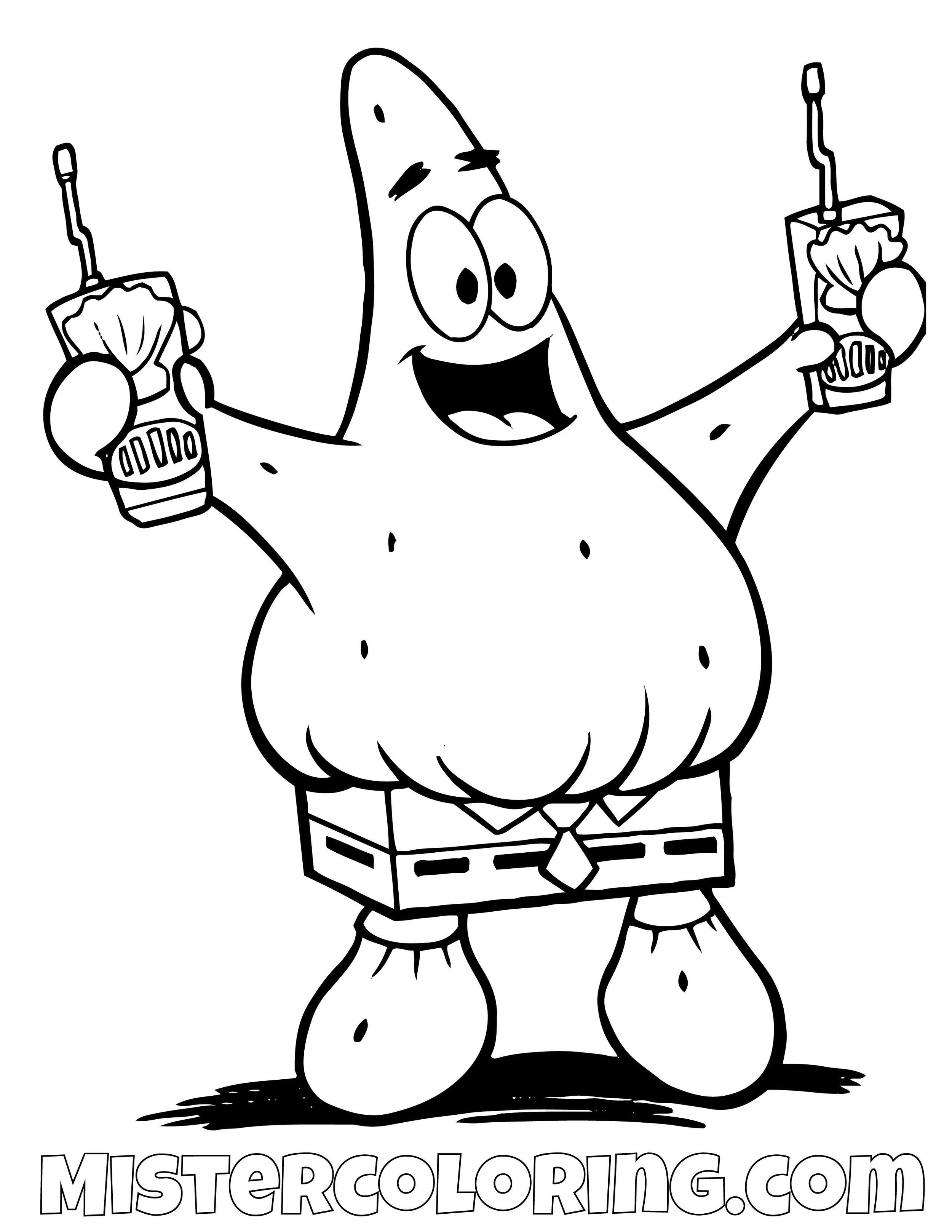 Patrick Star Coloring Page - Free & Printable Coloring Pages For ... | 1294x1000