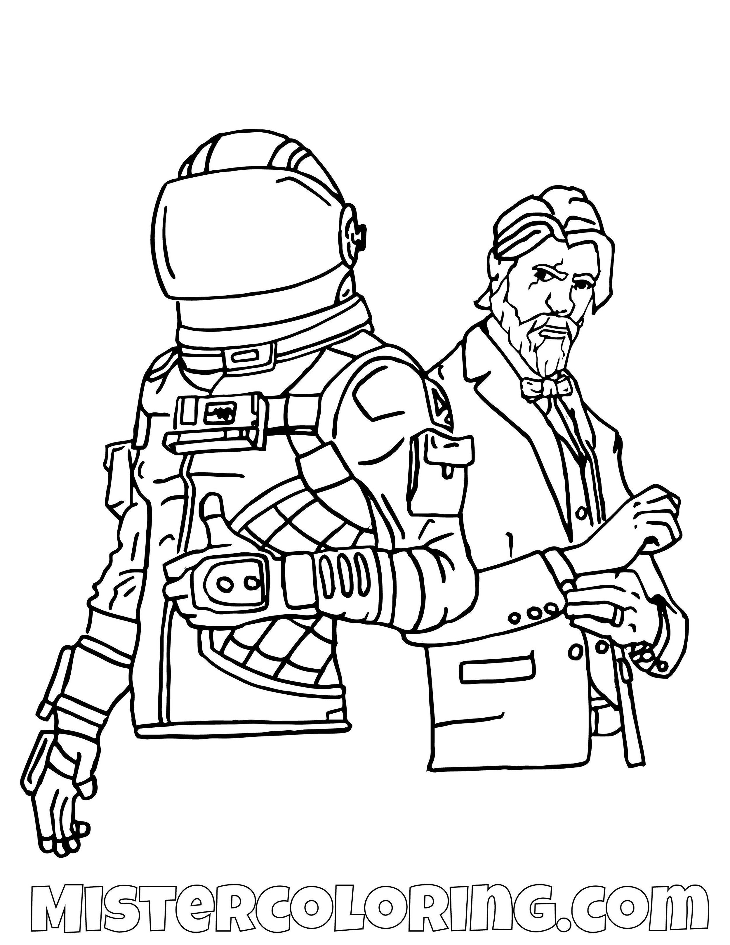 Season 7  Dark Voyager And John Wick Fortnite Coloring Page