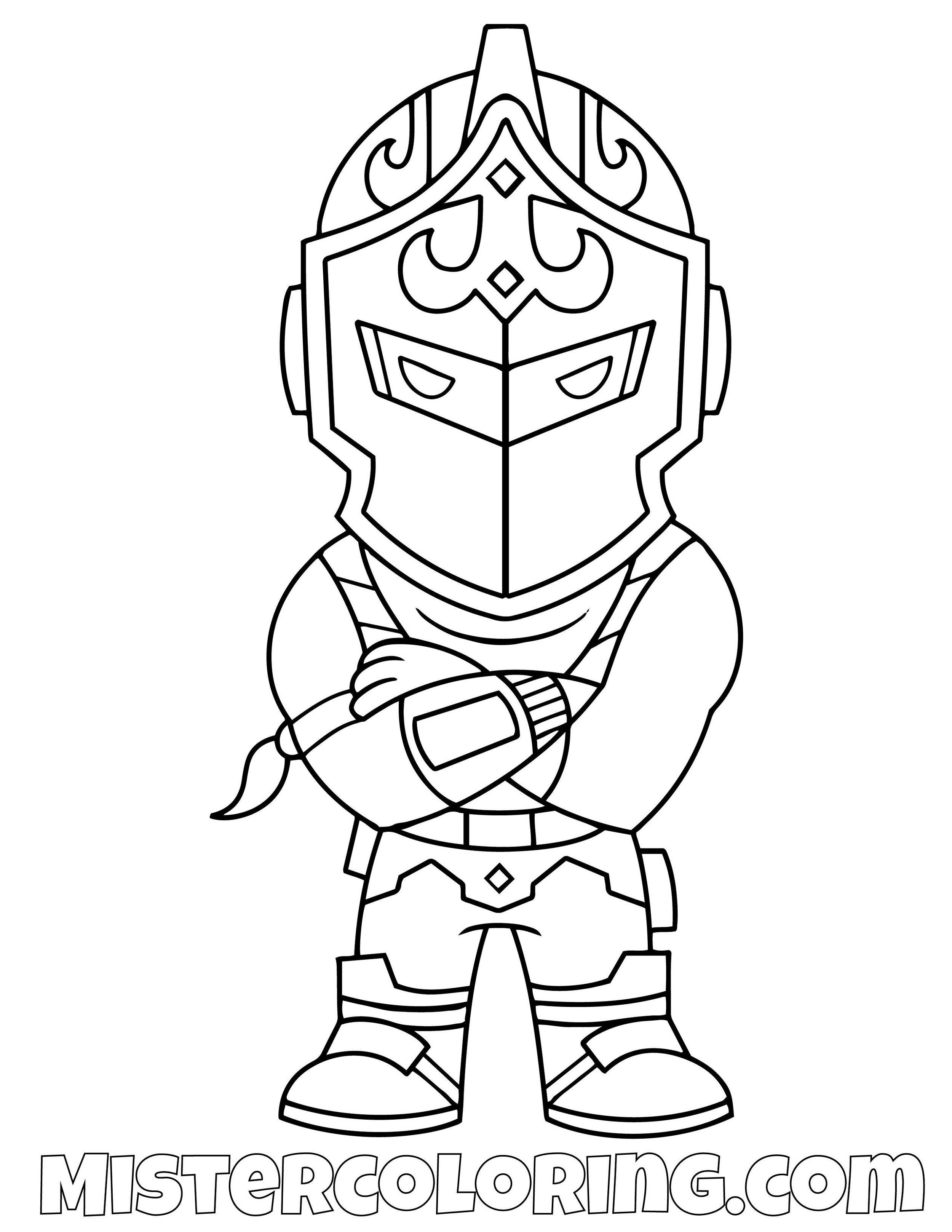 Black Knight Chibi Fornite Coloring Page