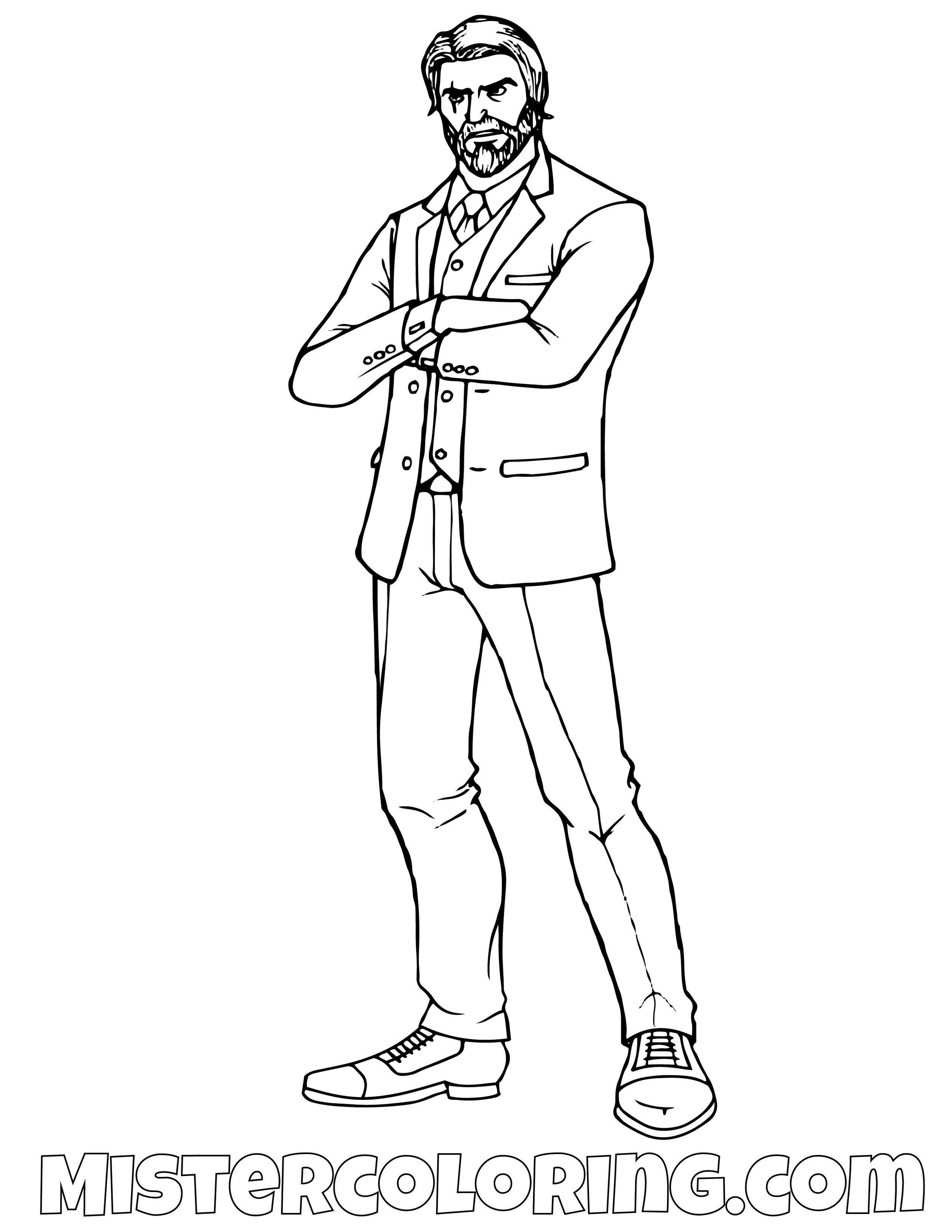 John Wick Fortnite Coloring Page