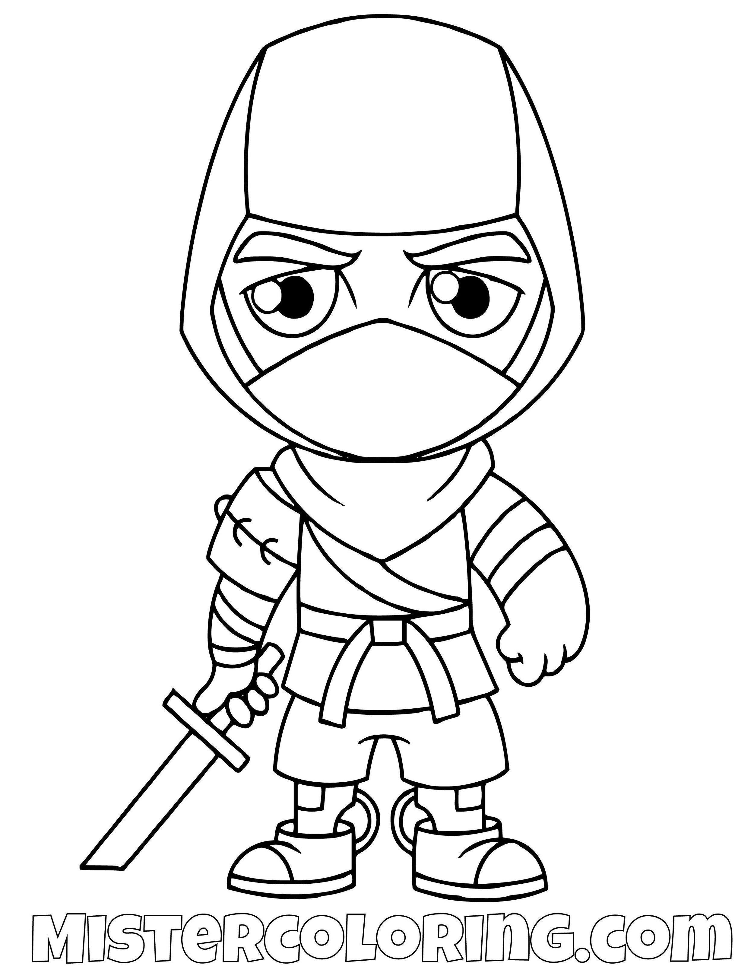 Ninja Chibi Fortnite Coloring Page