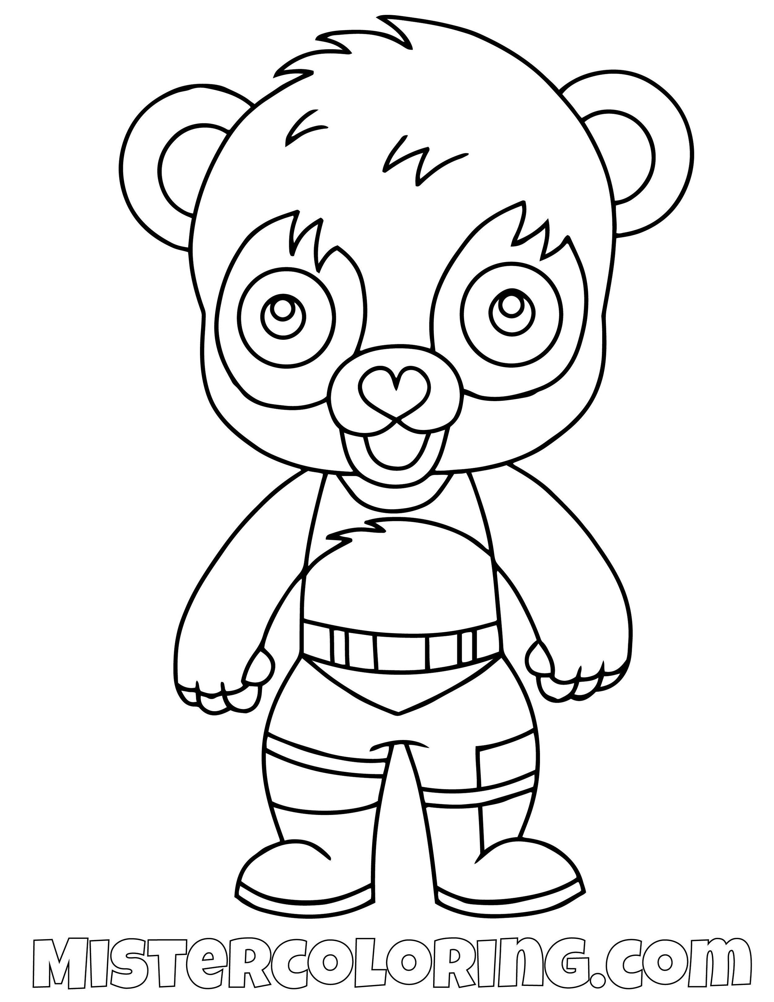 Panda Team Leader Chibi Fortnite Skin Coloring Page