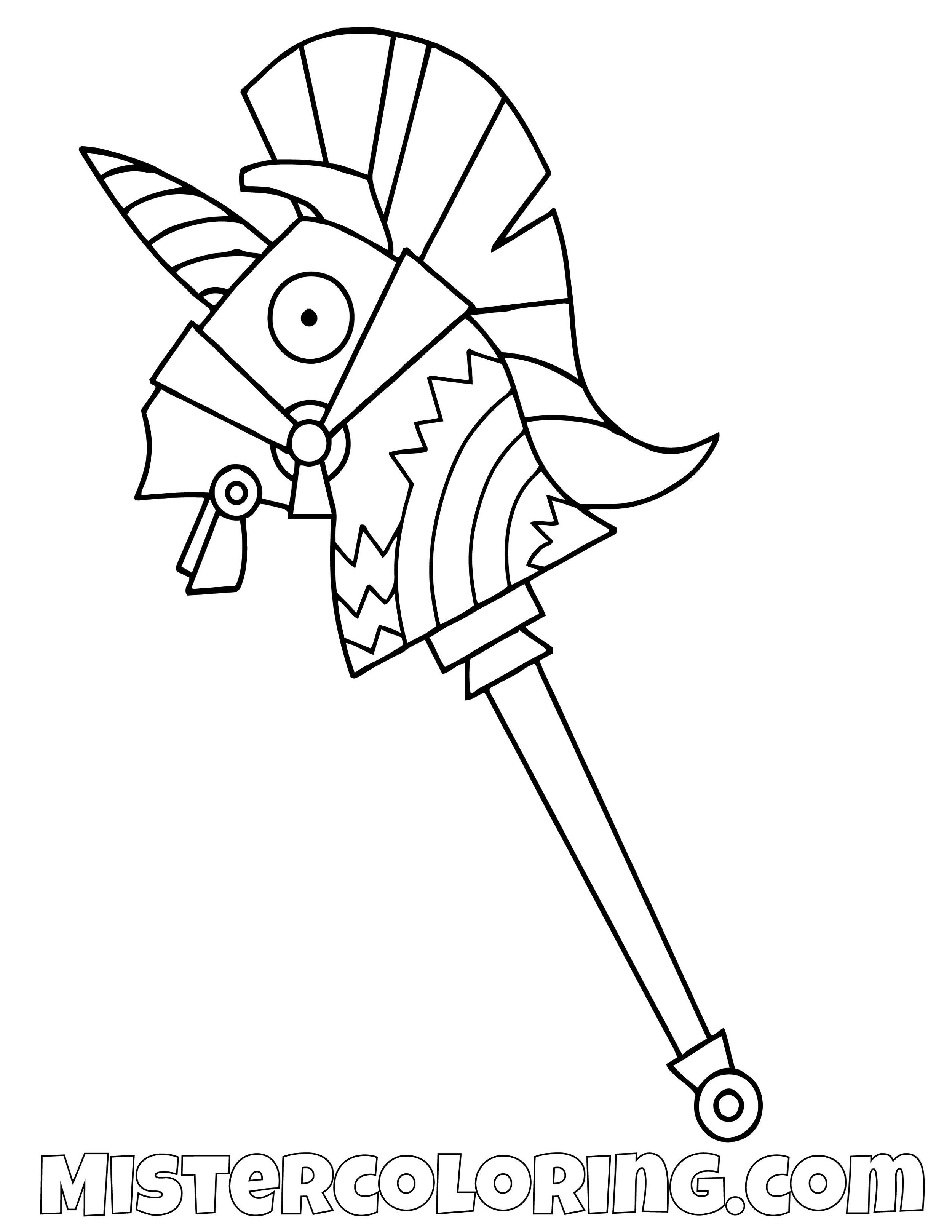 Rainbow Smash Pickaxe Fortnite Coloring Page