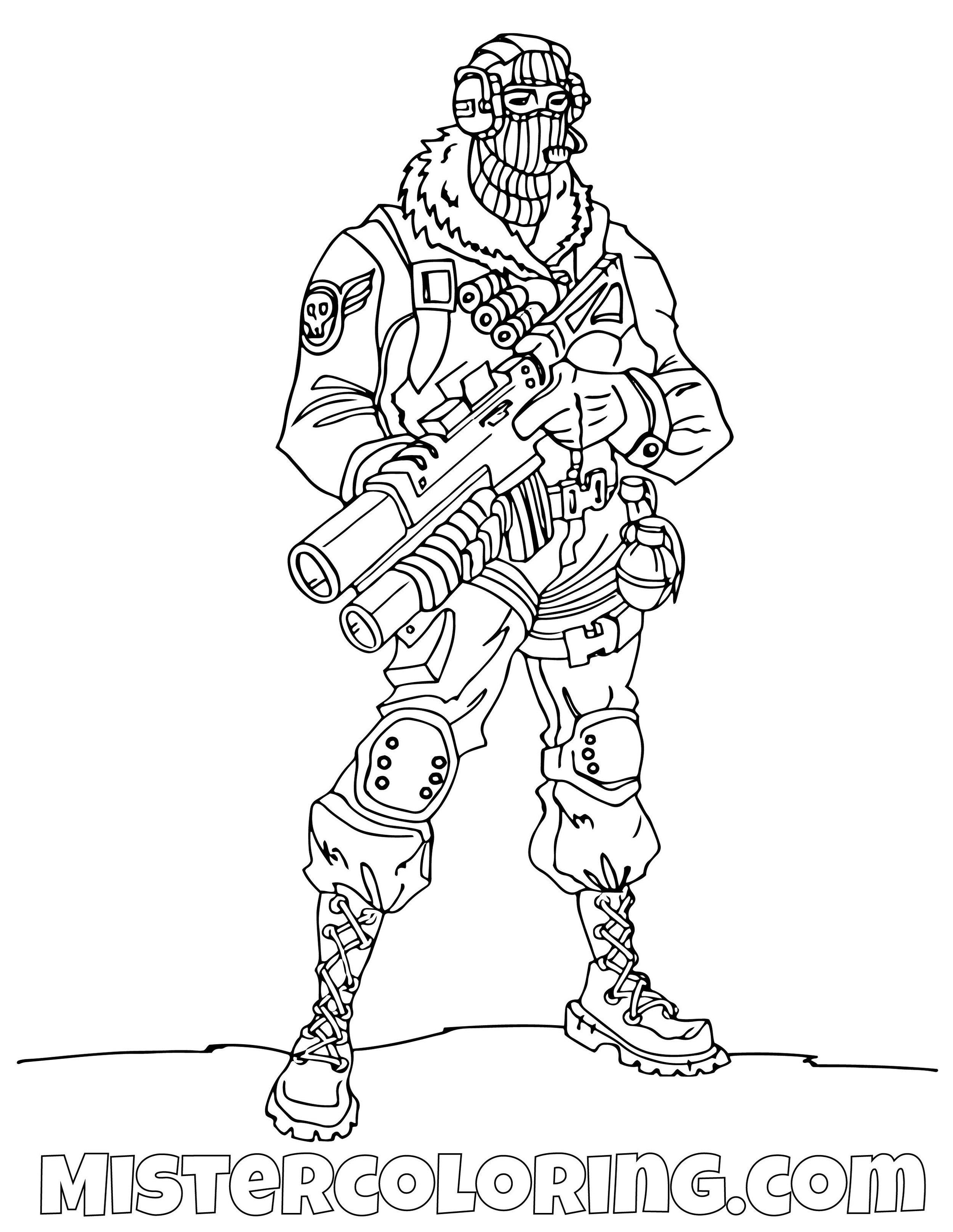 Raptor With Gun Fortnite Skin Coloring Page