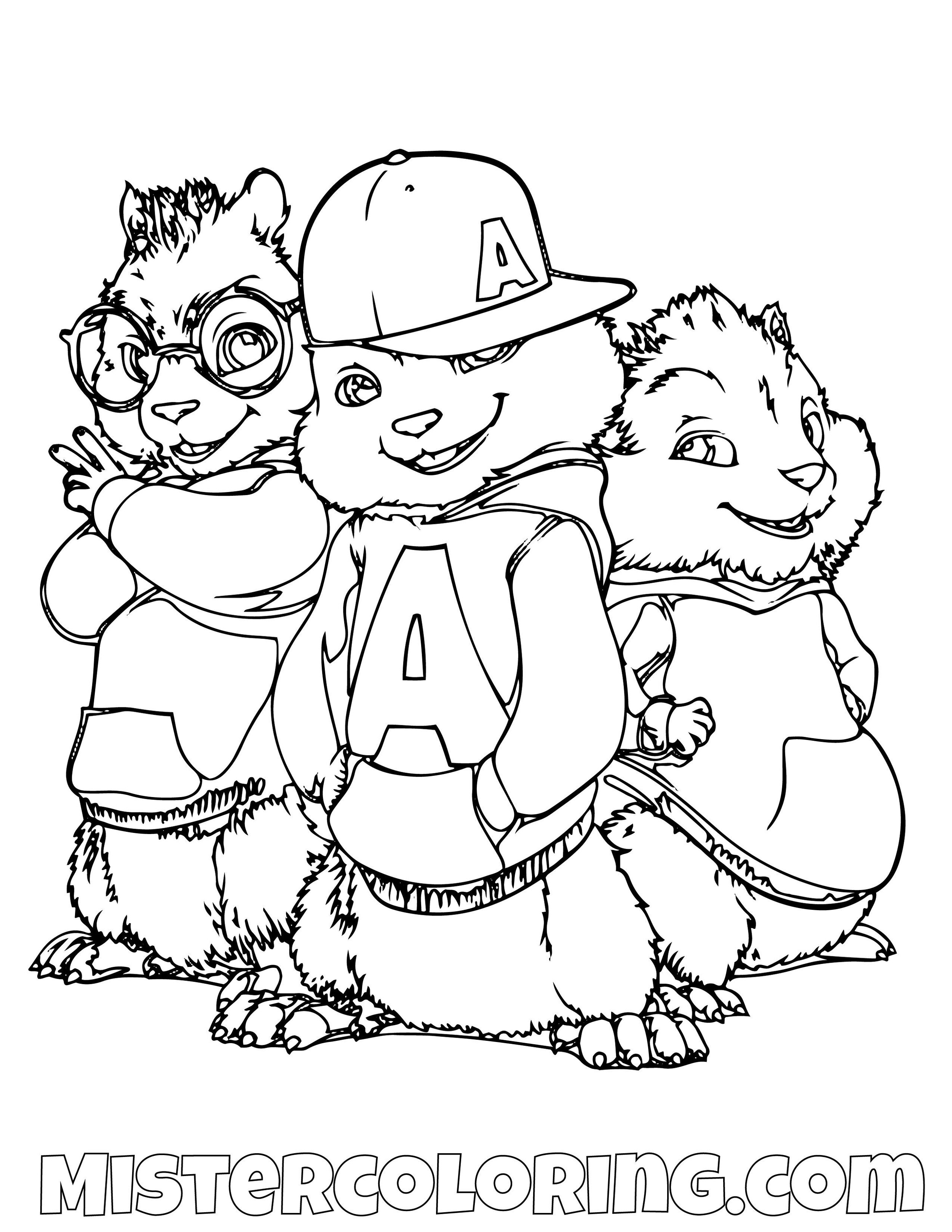 Alvin and the Chipmunks and The Chipettes coloring page | Free ... | 1294x1000