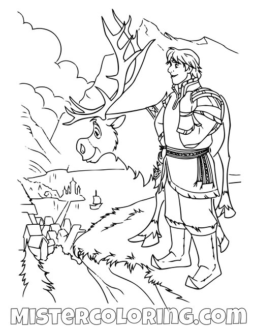 Frozen 2 : Sven & Kristoff without text - Frozen 2 Kids Coloring Pages | 647x500