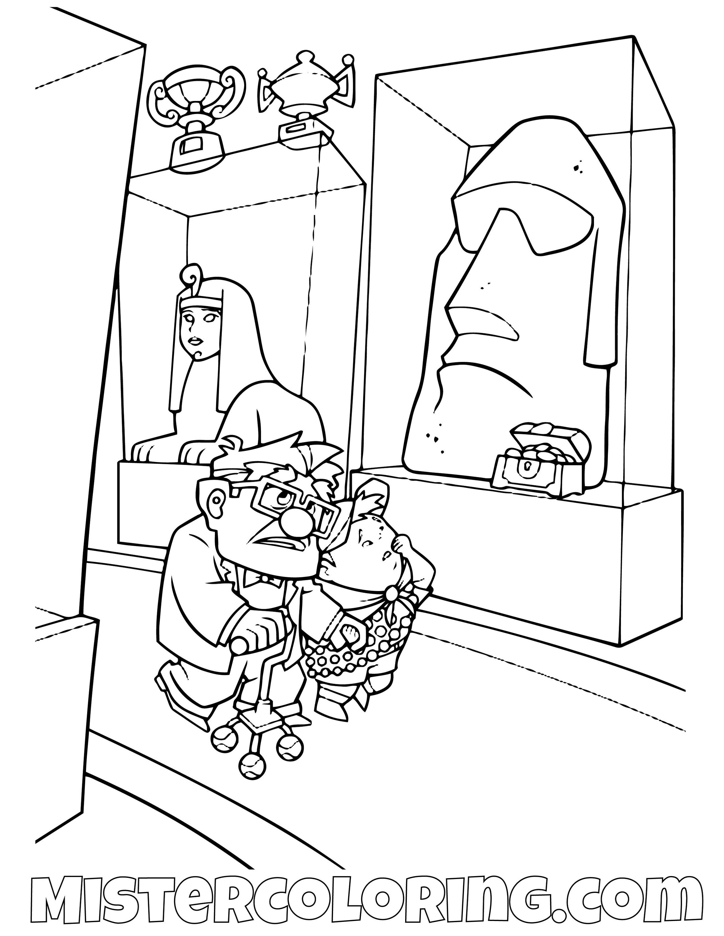 Carl Fredricksen And Russell Walking Disney Pixar Up Movie Coloring Pages For Kids