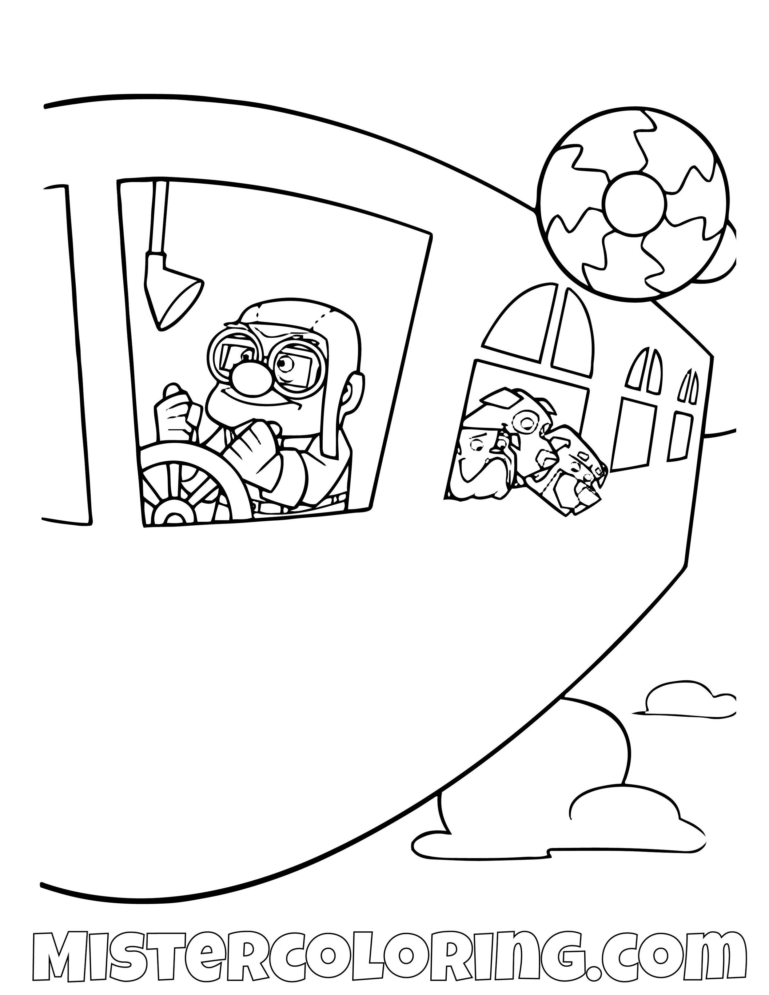 Carl Fredricksen Flying Spirit Adventure Disney Pixar Up Movie Coloring Pages For Kids