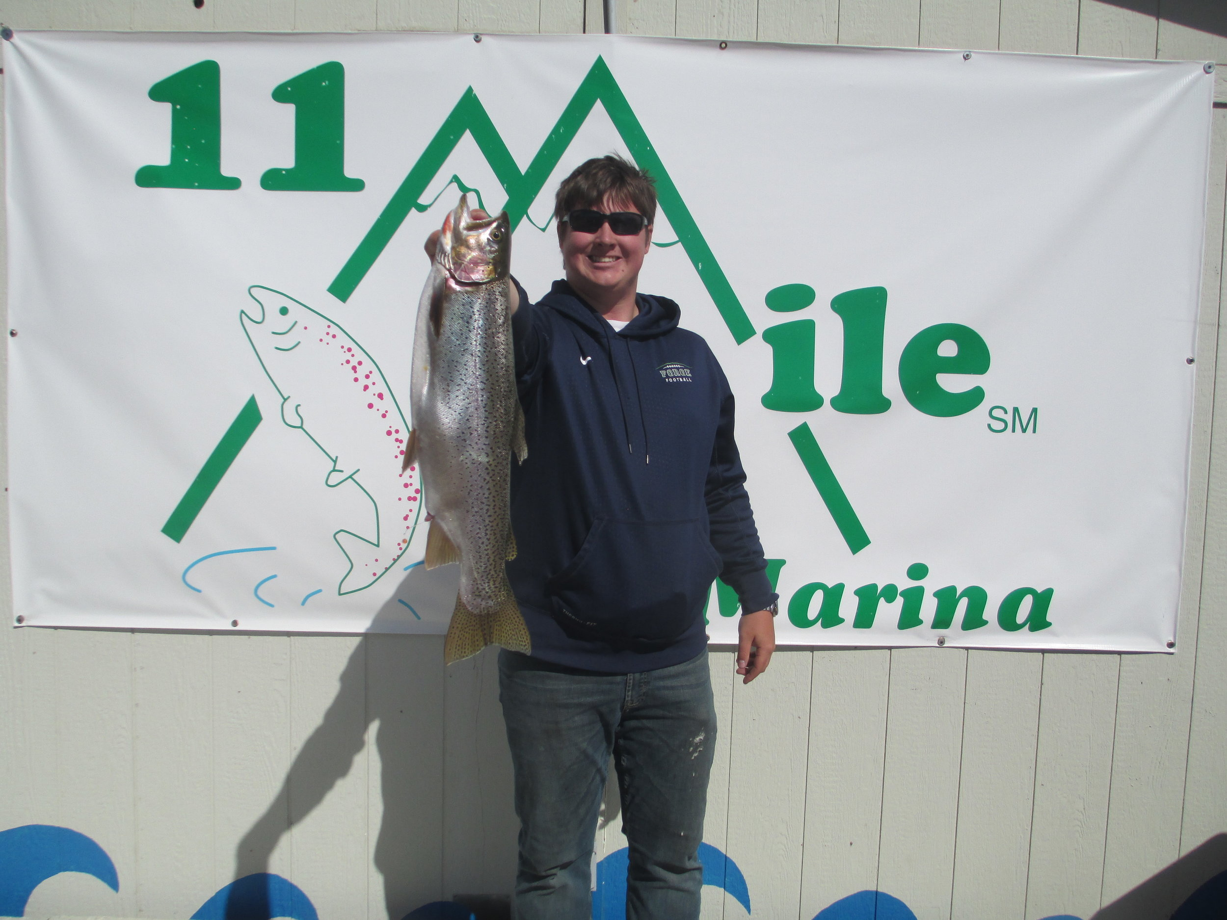 11 Mile Marina Crew member Reilly Jenkins hits this nice Cuttbow on a 1/4 oz Perch Kastmaster on first day back from the little boat ramp cove,