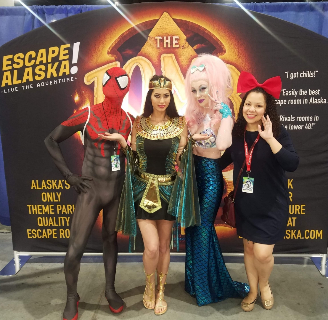 Comic Con is great for bringing all types of heroes together with pink-haired people.