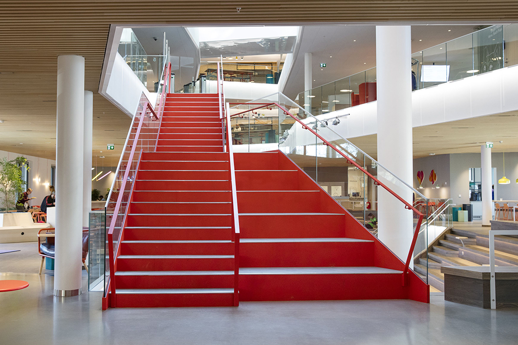 red stairs for tele 3 - Hi3g access headquarters in Stockholm, Sweden.