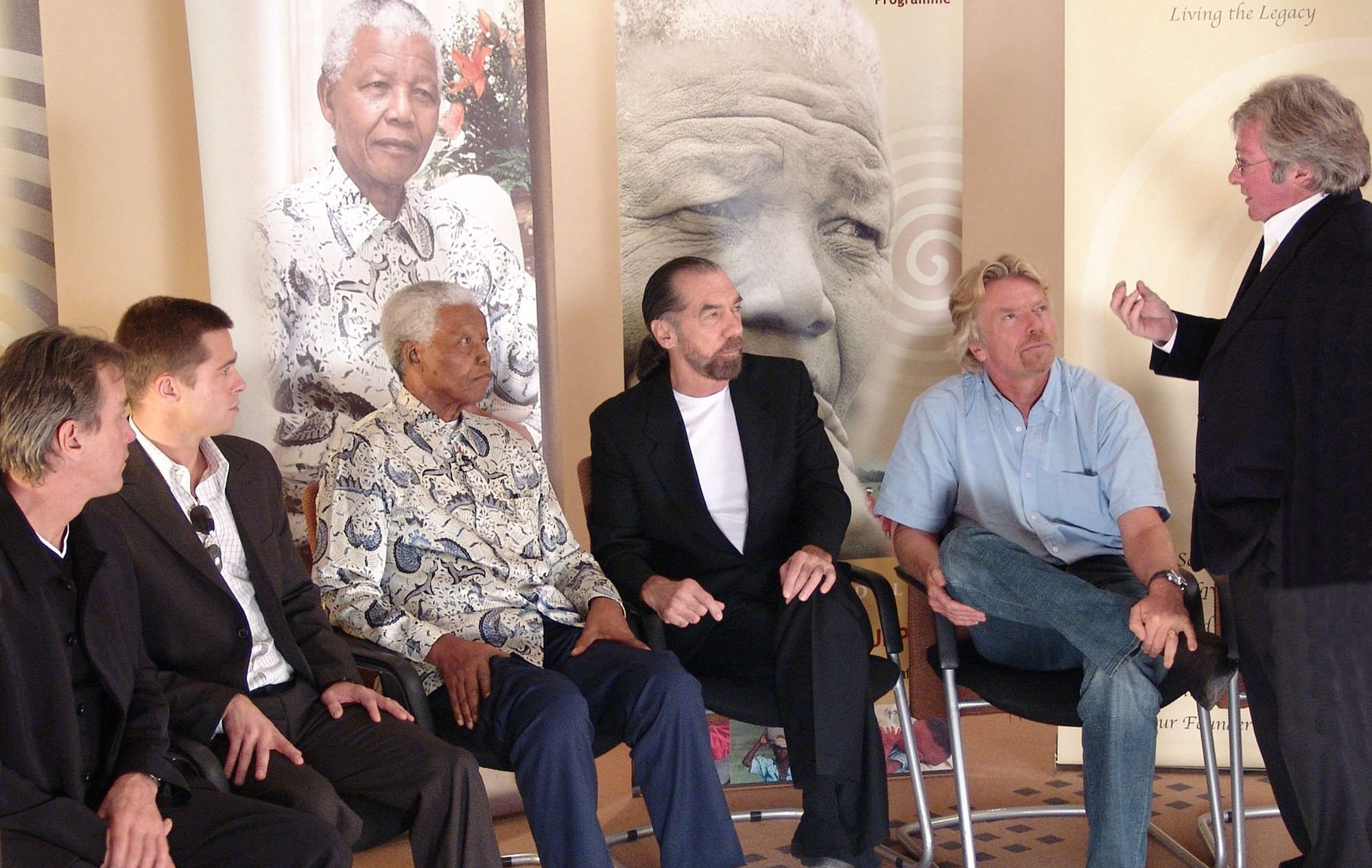 Left to right: Allan Oberholzer, Brad Pitt, Nelson Mandela, John Paul DeJoria, Sir Richard Branson and Mike Kendrick
