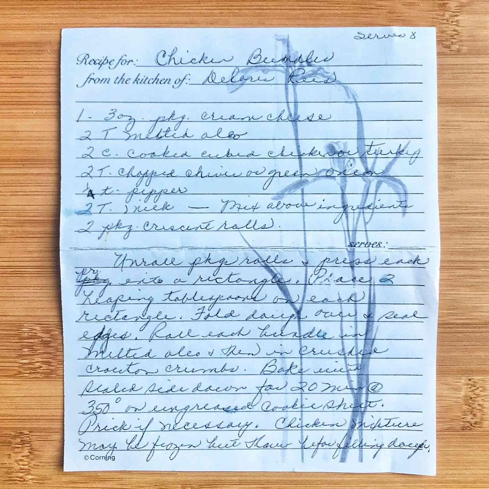 family lore - This is the page from grandma Ruth's recipe collection.