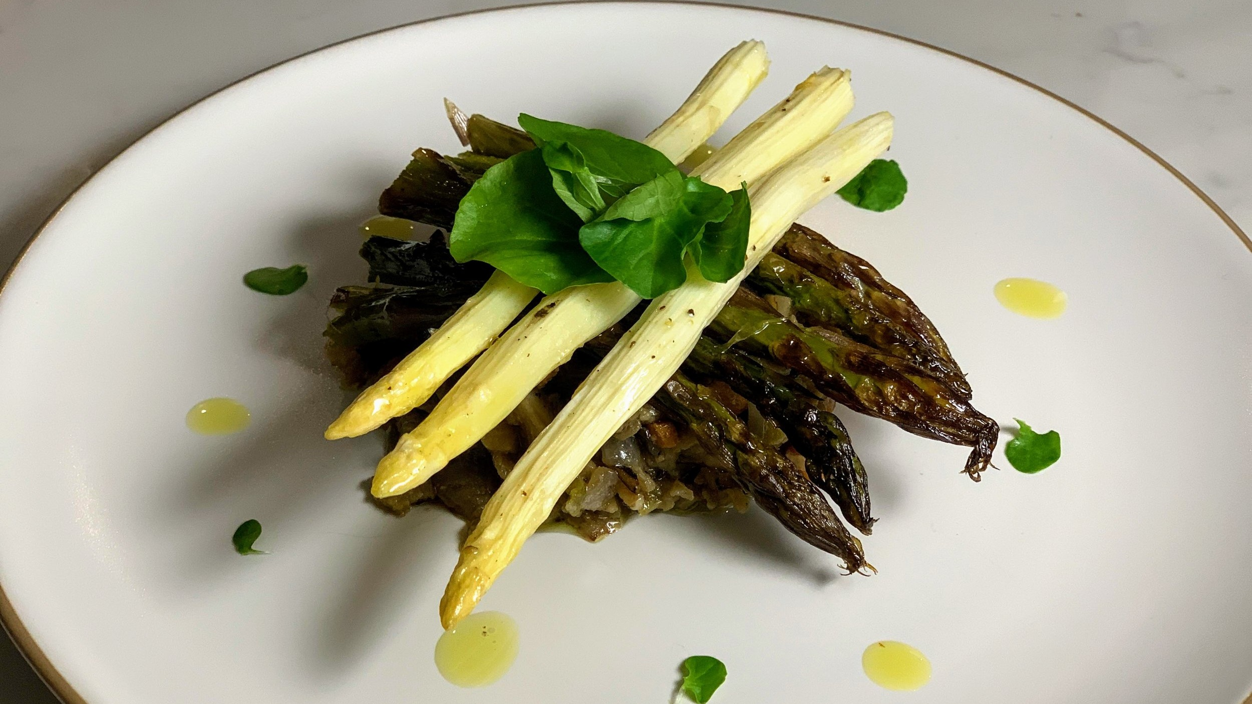 Spring asparagus and lush eggplants make this delicious salad a perfect option for an entree