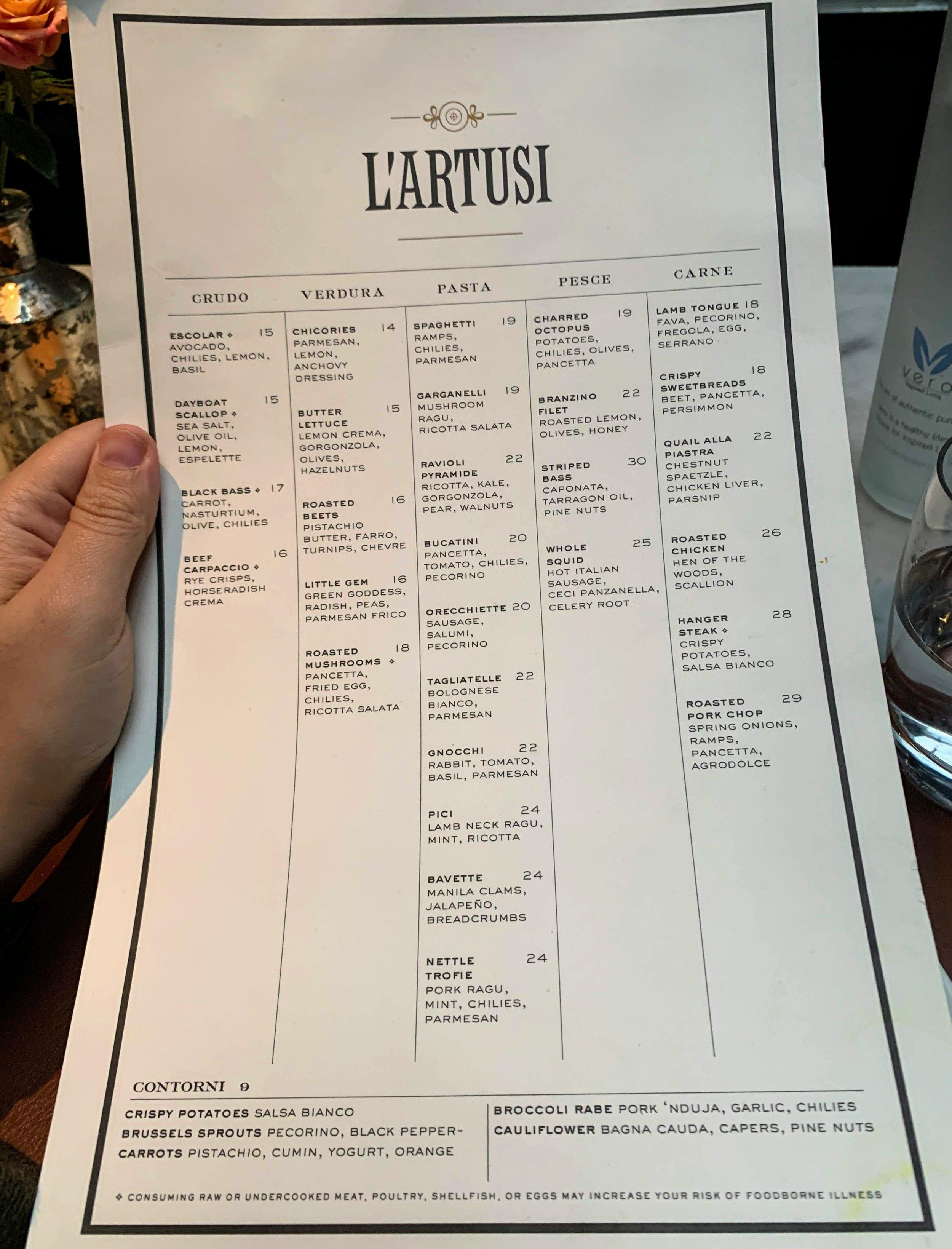 An example of the menu at L 'Artusi, April 2019