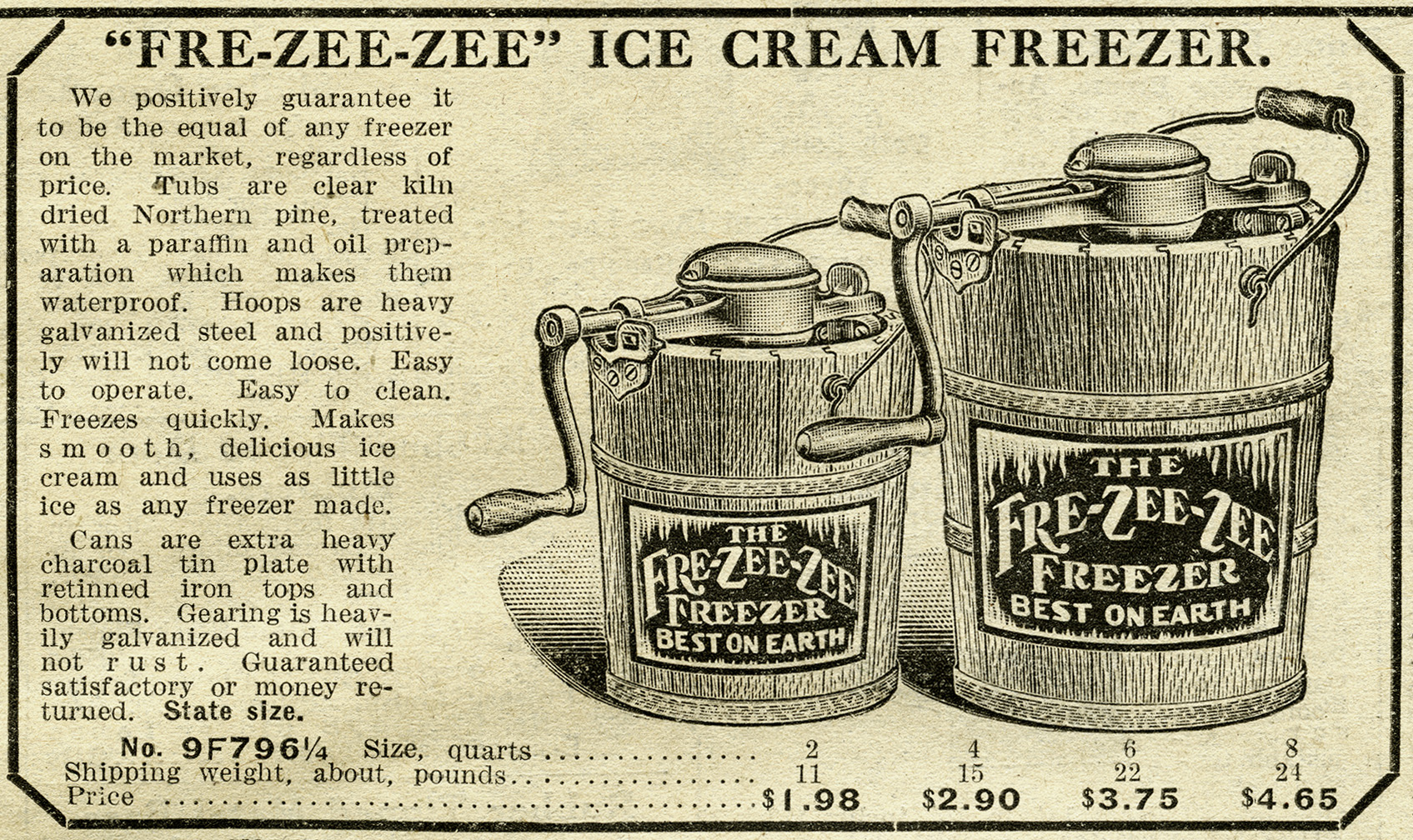 REFRIGERATION through the ages - The ad is from the 1916 Sears Roebuck and Co. winter catalogue.
