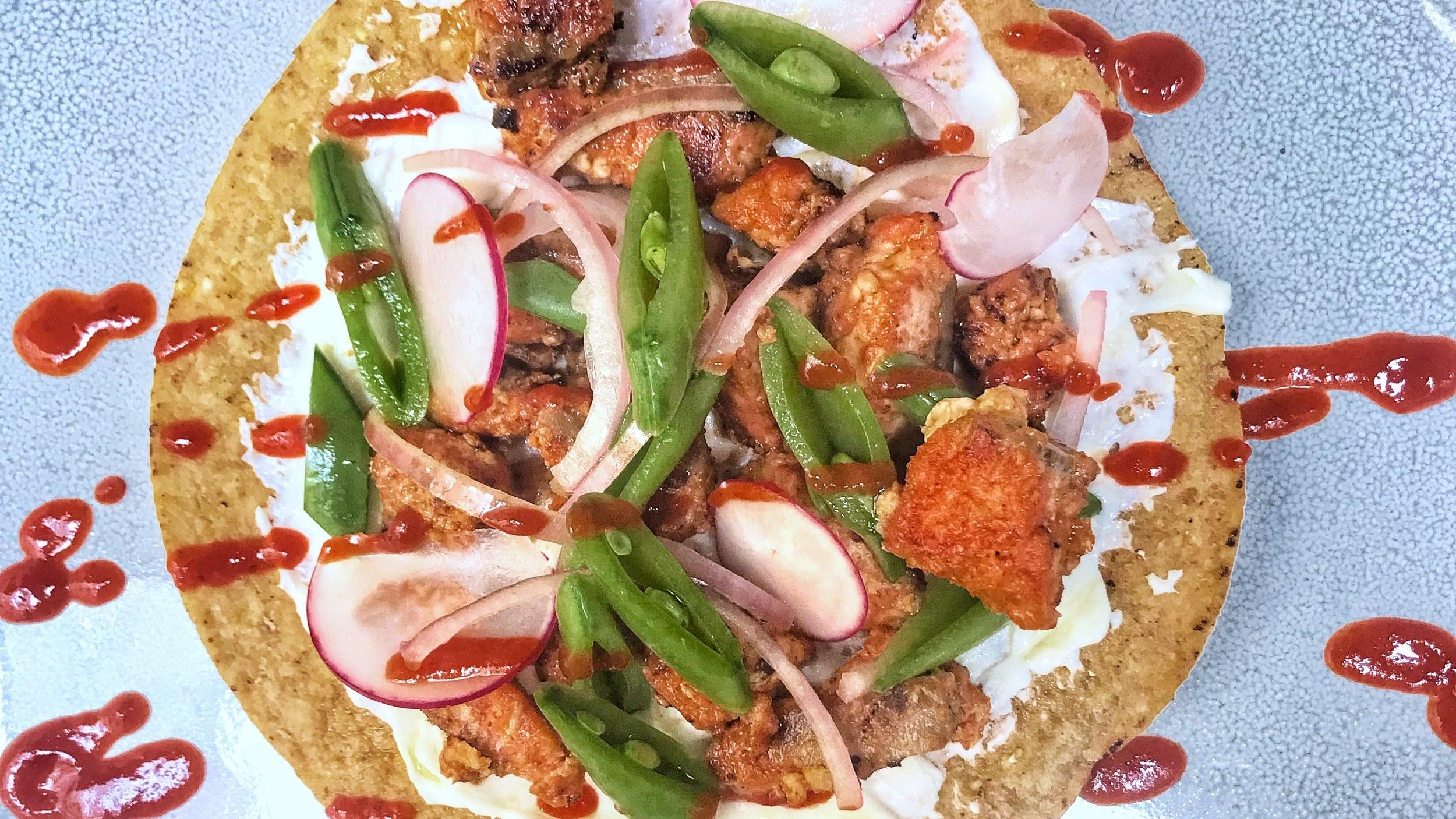 Spring salmon tostadas with labneh recipe
